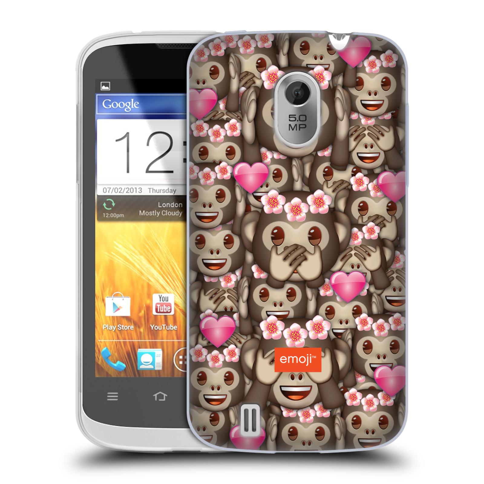 Silikonové pouzdro na mobil ZTE Blade III HEAD CASE EMOJI - Opičky, srdíčka a kytičky (Silikonový kryt či obal s oficiálním motivem EMOJI na mobilní telefon ZTE Blade 3)