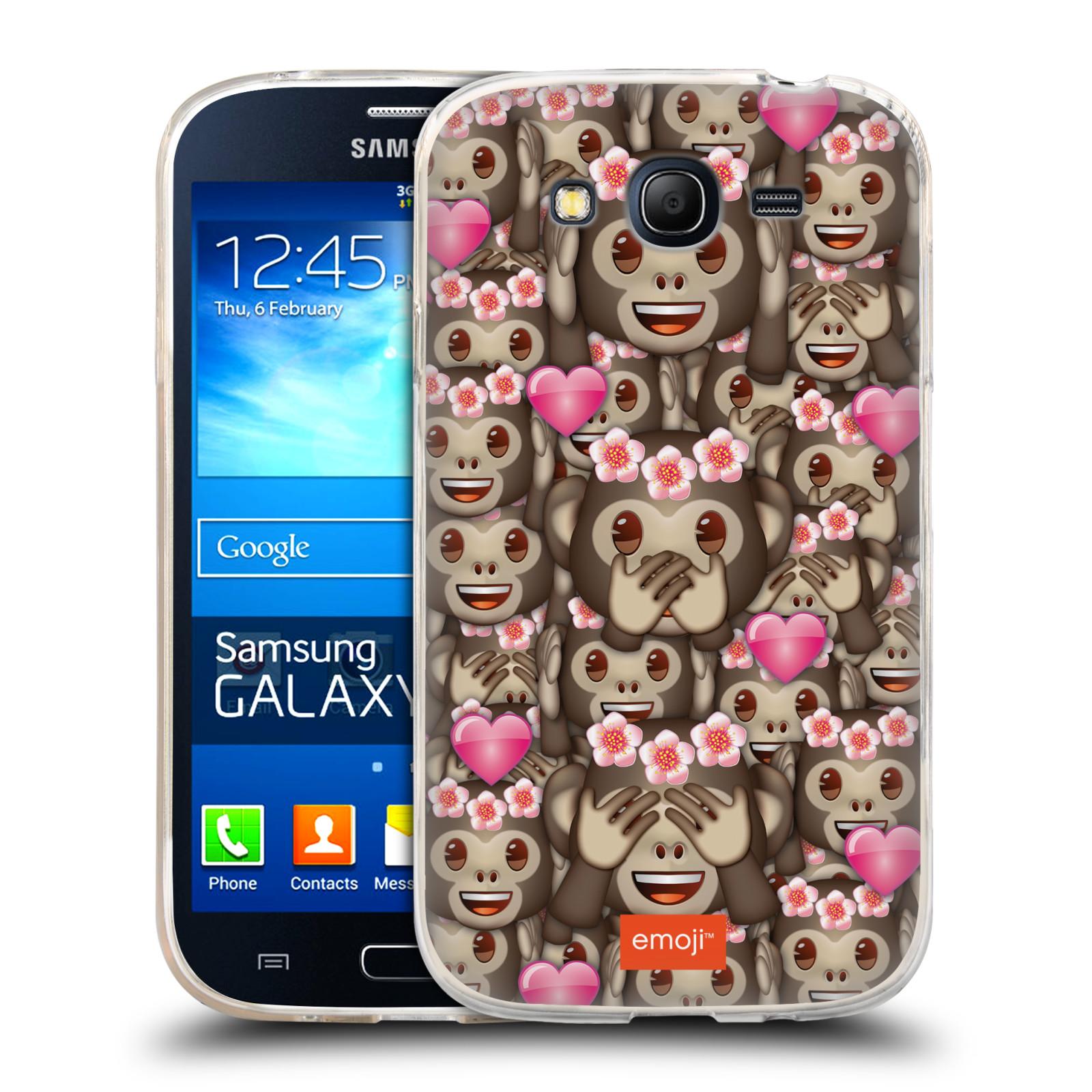 Silikonové pouzdro na mobil Samsung Galaxy Grand Neo Plus HEAD CASE EMOJI - Opičky, srdíčka a kytičky (Silikonový kryt či obal s oficiálním motivem EMOJI na mobilní telefon Samsung Galaxy Grand Neo Plus Duos GT-I9060i)