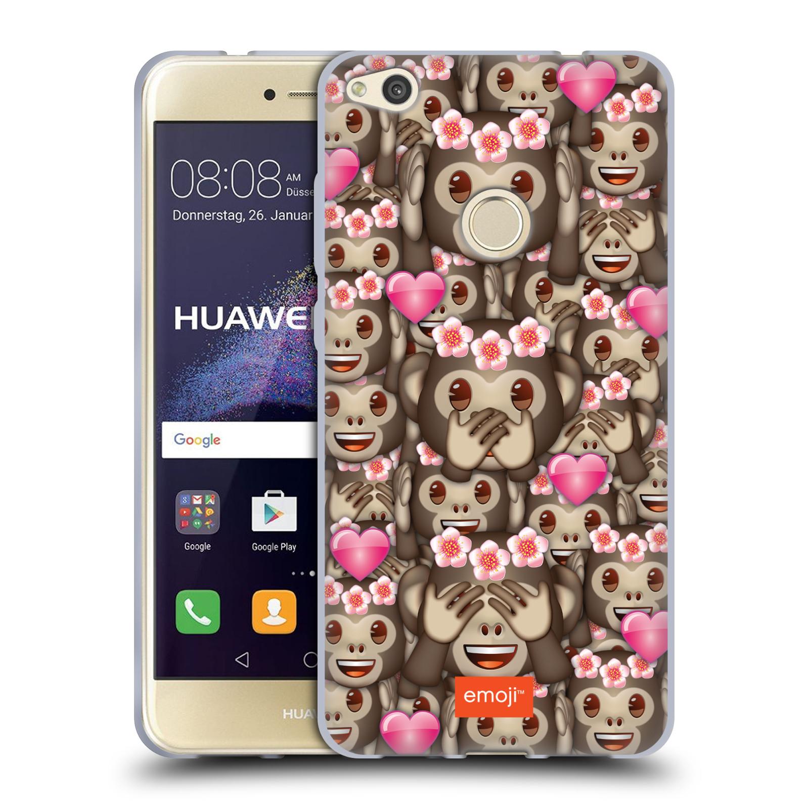 Silikonové pouzdro na mobil Huawei P9 Lite (2017) HEAD CASE EMOJI - Opičky, srdíčka a kytičky