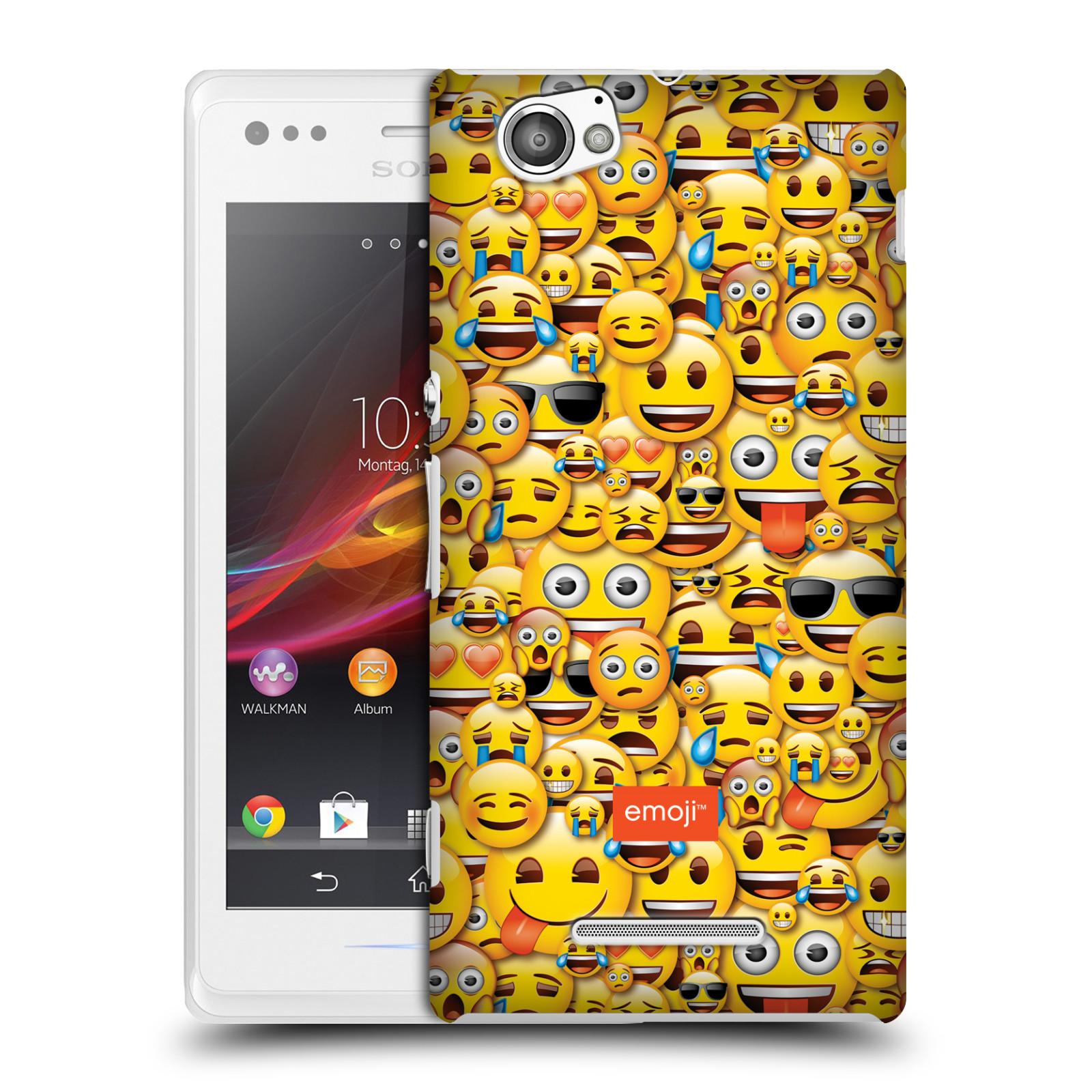Plastové pouzdro na mobil Sony Xperia M C1905 HEAD CASE EMOJI - Mnoho malých smajlíků (Kryt či obal s oficiálním motivem EMOJI na mobilní telefon Sony Xperia M )