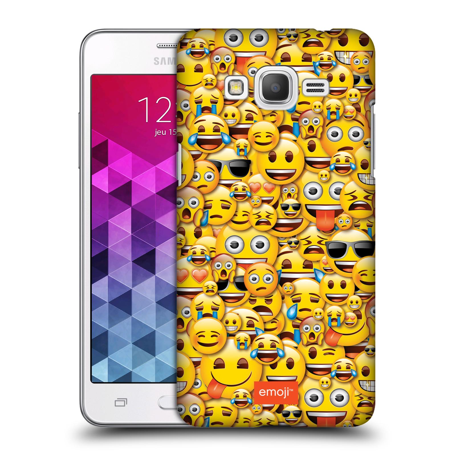 Plastové pouzdro na mobil Samsung Galaxy Grand Prime HEAD CASE EMOJI - Mnoho malých smajlíků