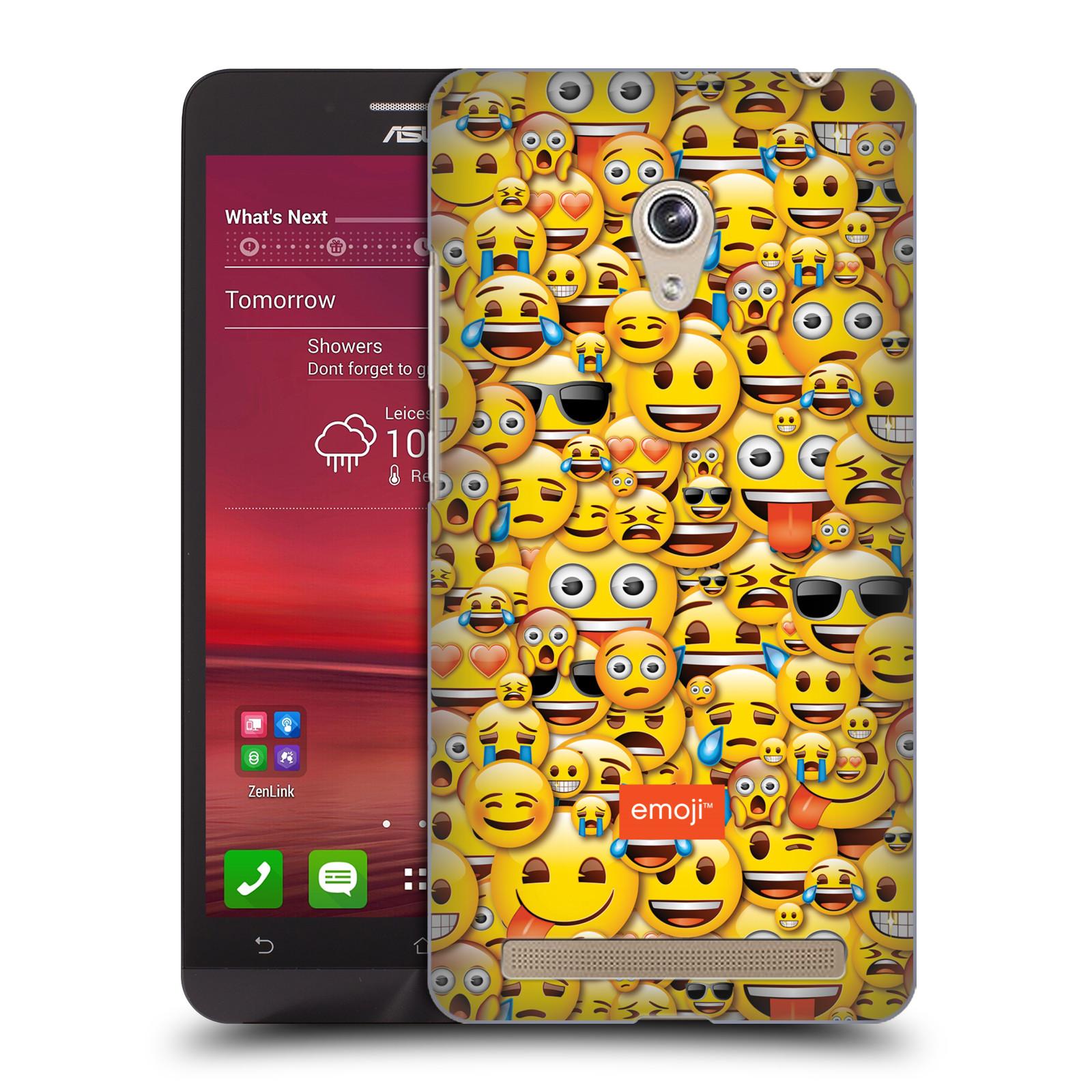 Plastové pouzdro na mobil Asus Zenfone 6 HEAD CASE EMOJI - Mnoho malých smajlíků (Kryt či obal s oficiálním motivem EMOJI na mobilní telefon Asus Zenfone 6 A600CG / A601CG)