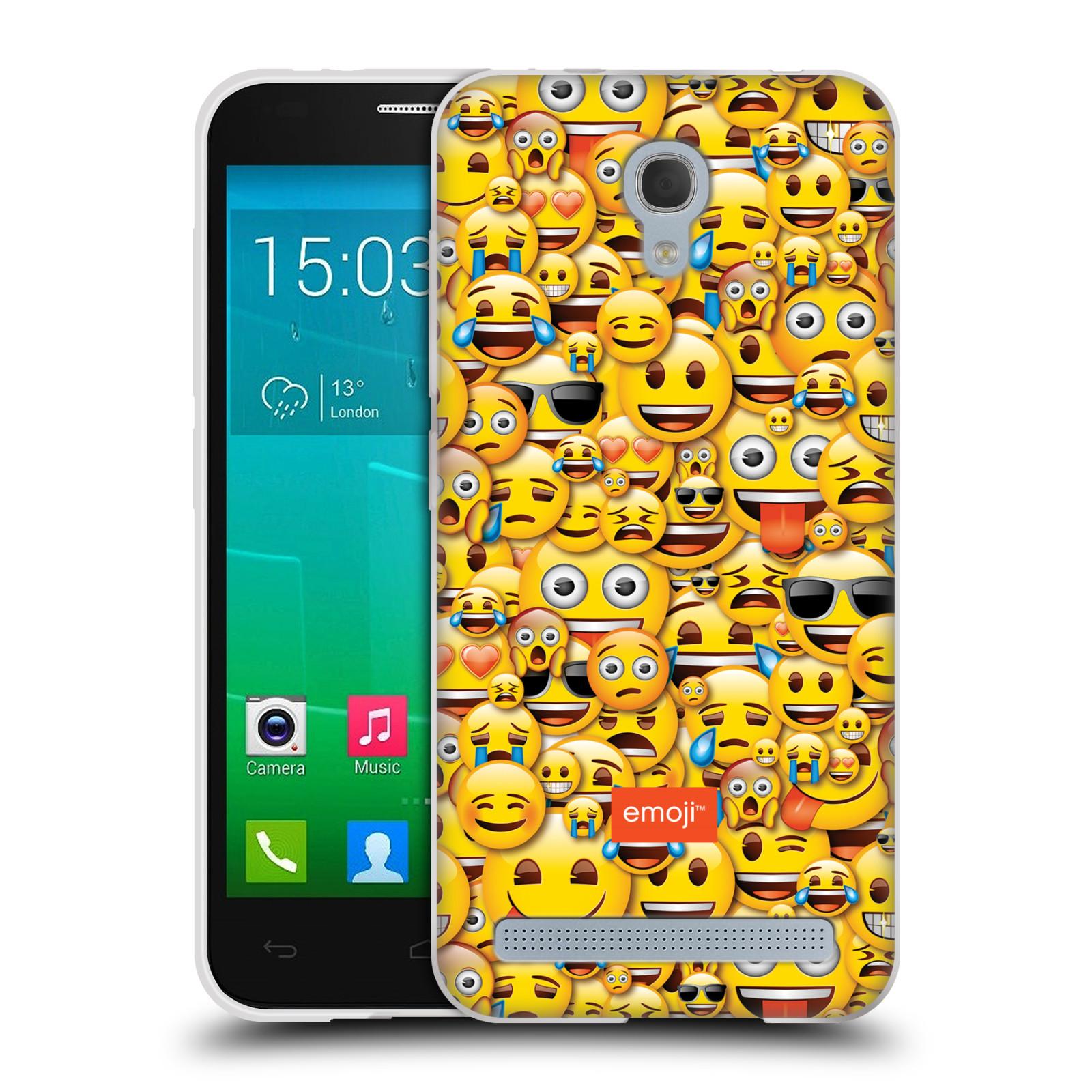 Silikonové pouzdro na mobil Alcatel One Touch Idol 2 Mini S 6036Y HEAD CASE EMOJI - Mnoho malých smajlíků (Silikonový kryt či obal s oficiálním motivem EMOJI na mobilní telefon Alcatel Idol 2 Mini S OT-6036Y)