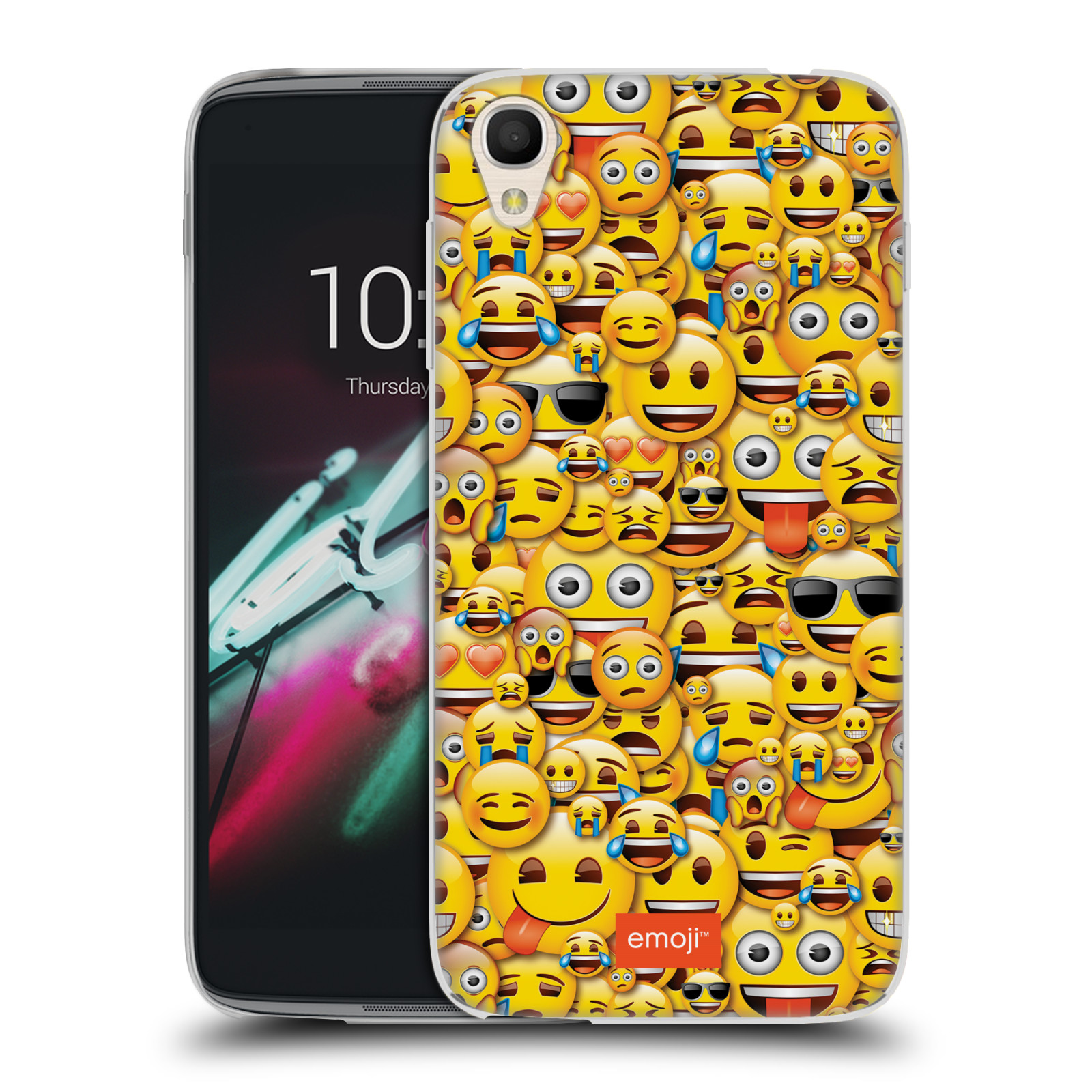 "Silikonové pouzdro na mobil Alcatel One Touch 6039Y Idol 3 HEAD CASE EMOJI - Mnoho malých smajlíků (Silikonový kryt či obal s oficiálním motivem EMOJI na mobilní telefon Alcatel One Touch Idol 3 OT-6039Y s 4,7"" displejem)"