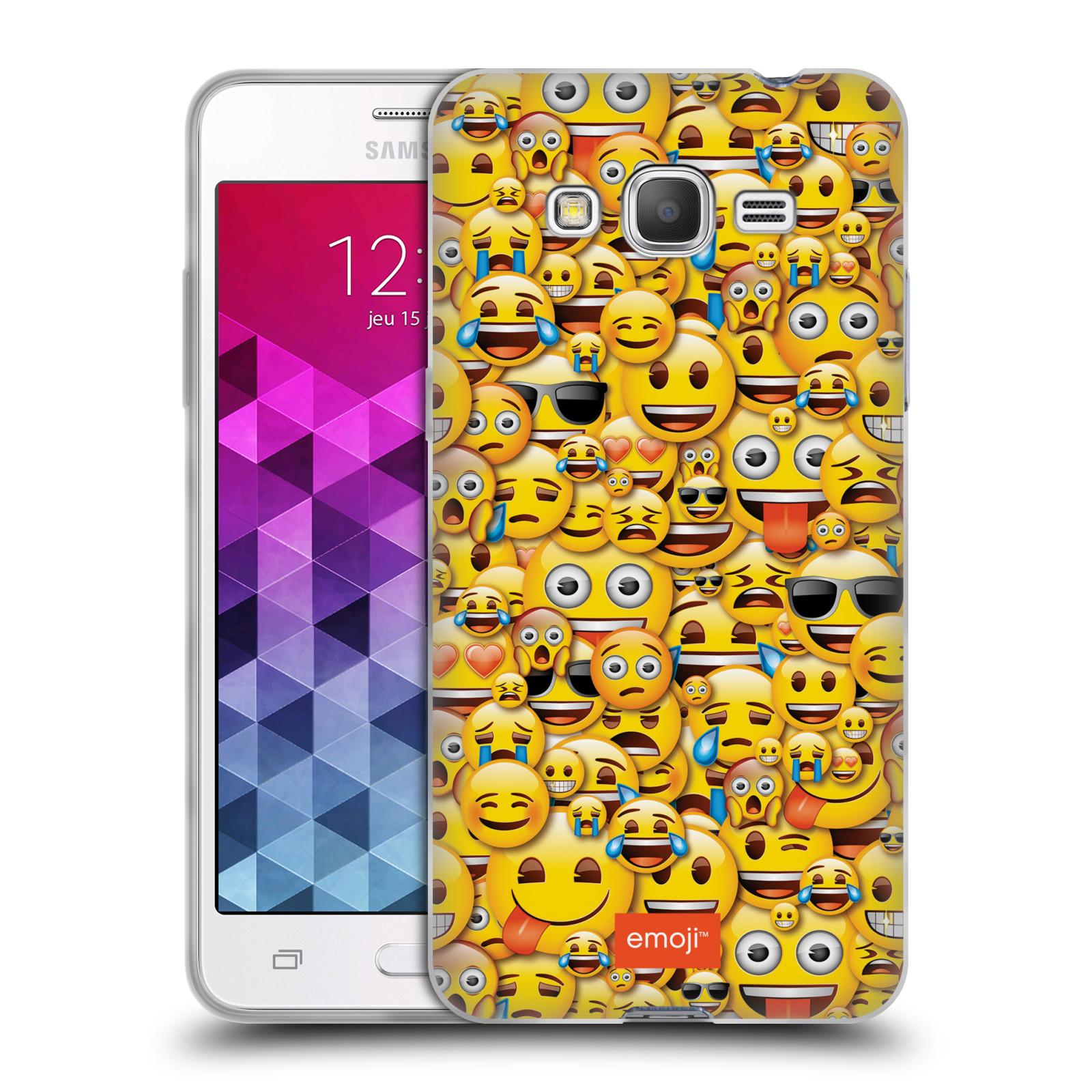 Silikonové pouzdro na mobil Samsung Galaxy Grand Prime HEAD CASE EMOJI - Mnoho malých smajlíků