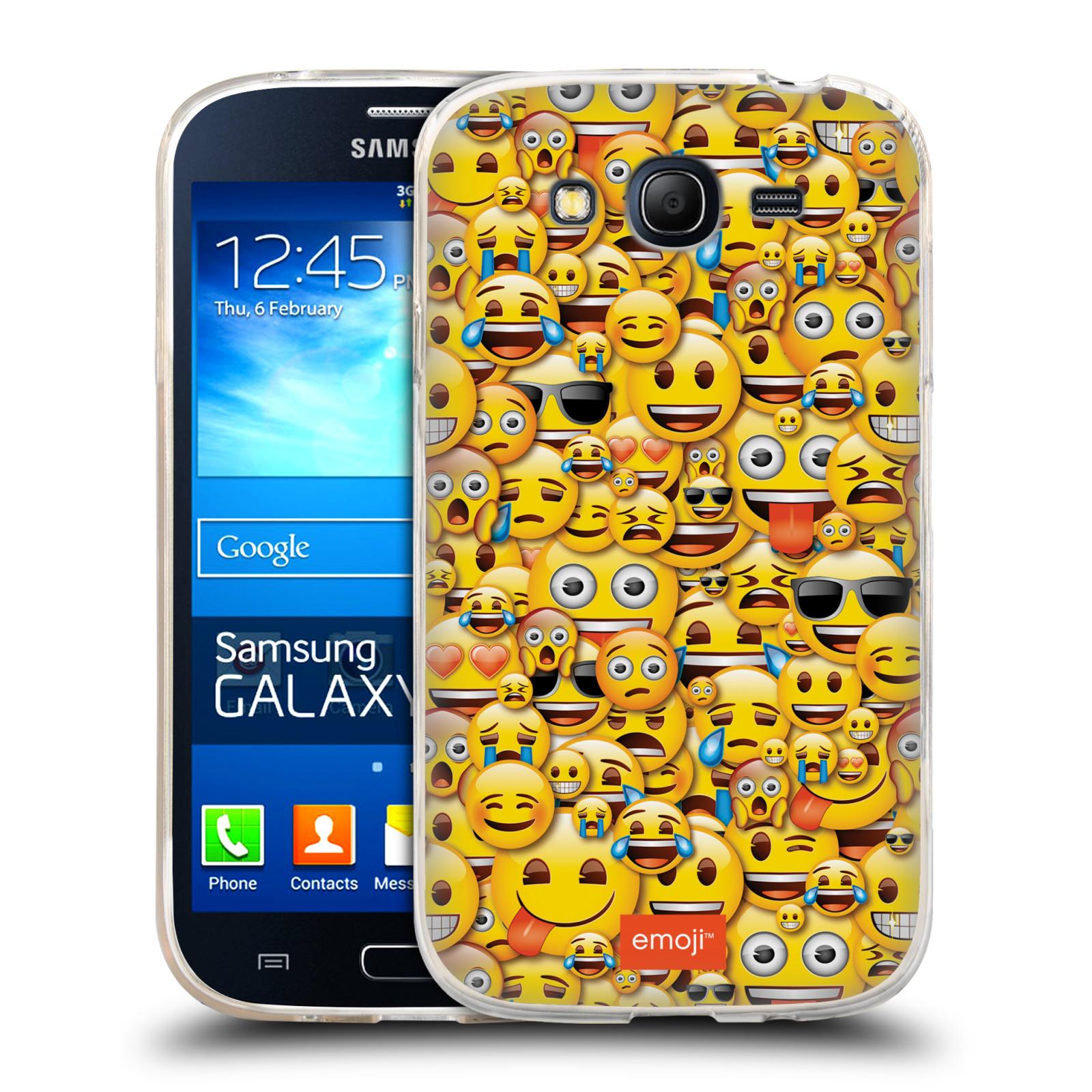 Silikonové pouzdro na mobil Samsung Galaxy Grand Neo Plus HEAD CASE EMOJI - Mnoho malých smajlíků (Silikonový kryt či obal s oficiálním motivem EMOJI na mobilní telefon Samsung Galaxy Grand Neo Plus Duos GT-I9060i)