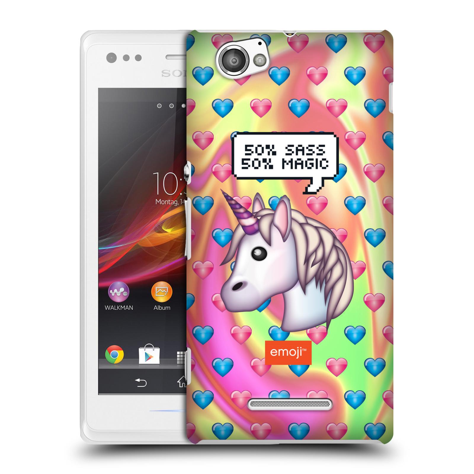 Plastové pouzdro na mobil Sony Xperia M C1905 HEAD CASE EMOJI - Jednorožec (Kryt či obal s oficiálním motivem EMOJI na mobilní telefon Sony Xperia M )