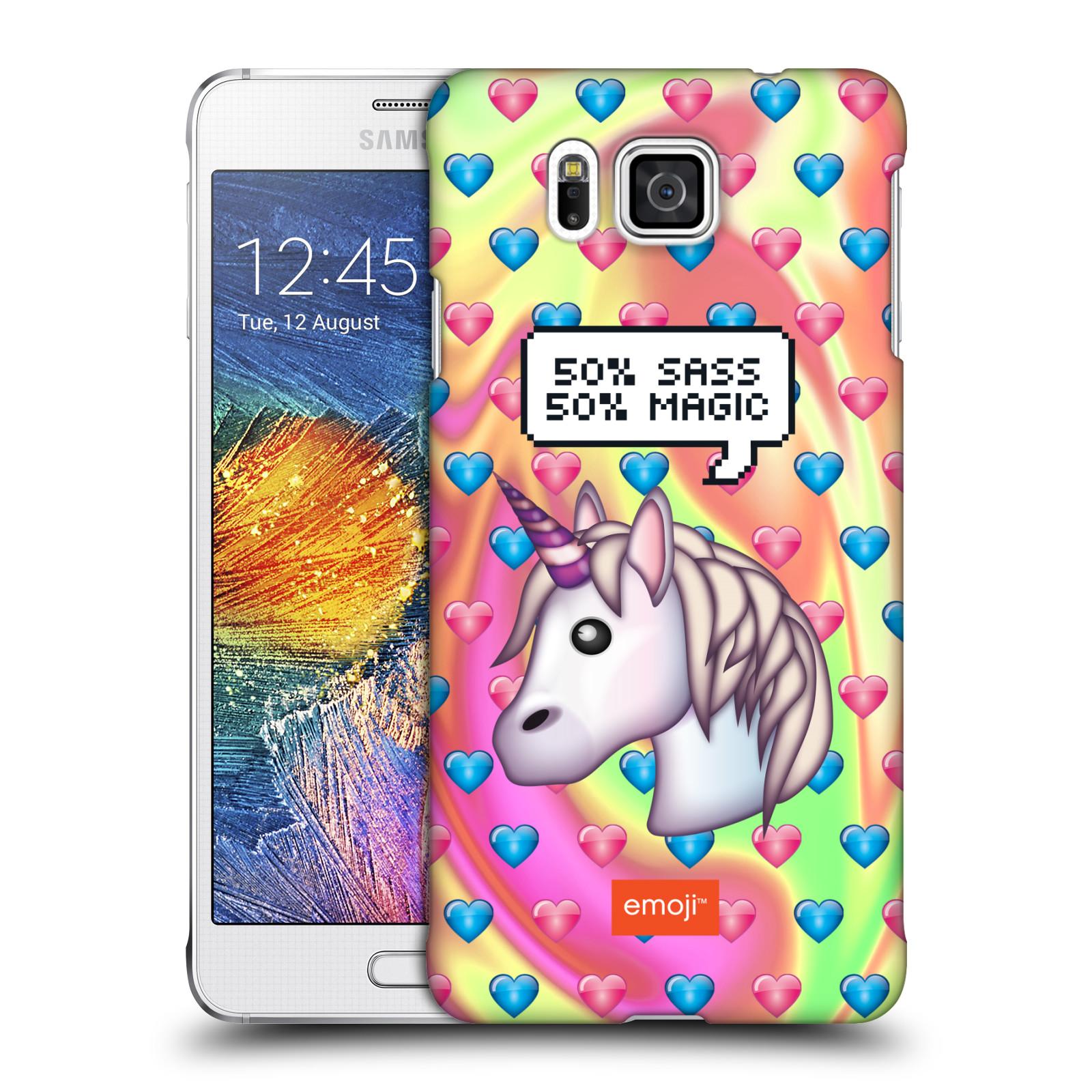 Plastové pouzdro na mobil Samsung Galaxy Alpha HEAD CASE EMOJI - Jednorožec