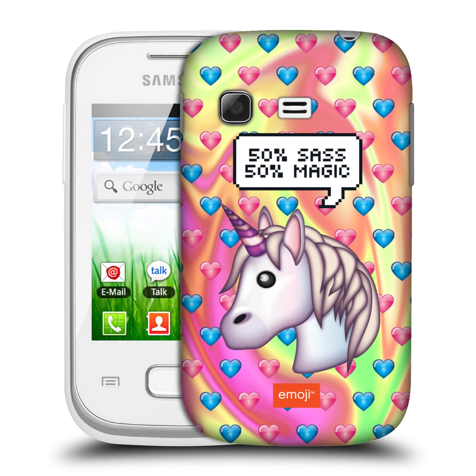 Plastové pouzdro na mobil Samsung Galaxy Pocket HEAD CASE EMOJI - Jednorožec (Kryt či obal s oficiálním motivem EMOJI na mobilní telefon Samsung Galaxy Pocket GT-S5300)