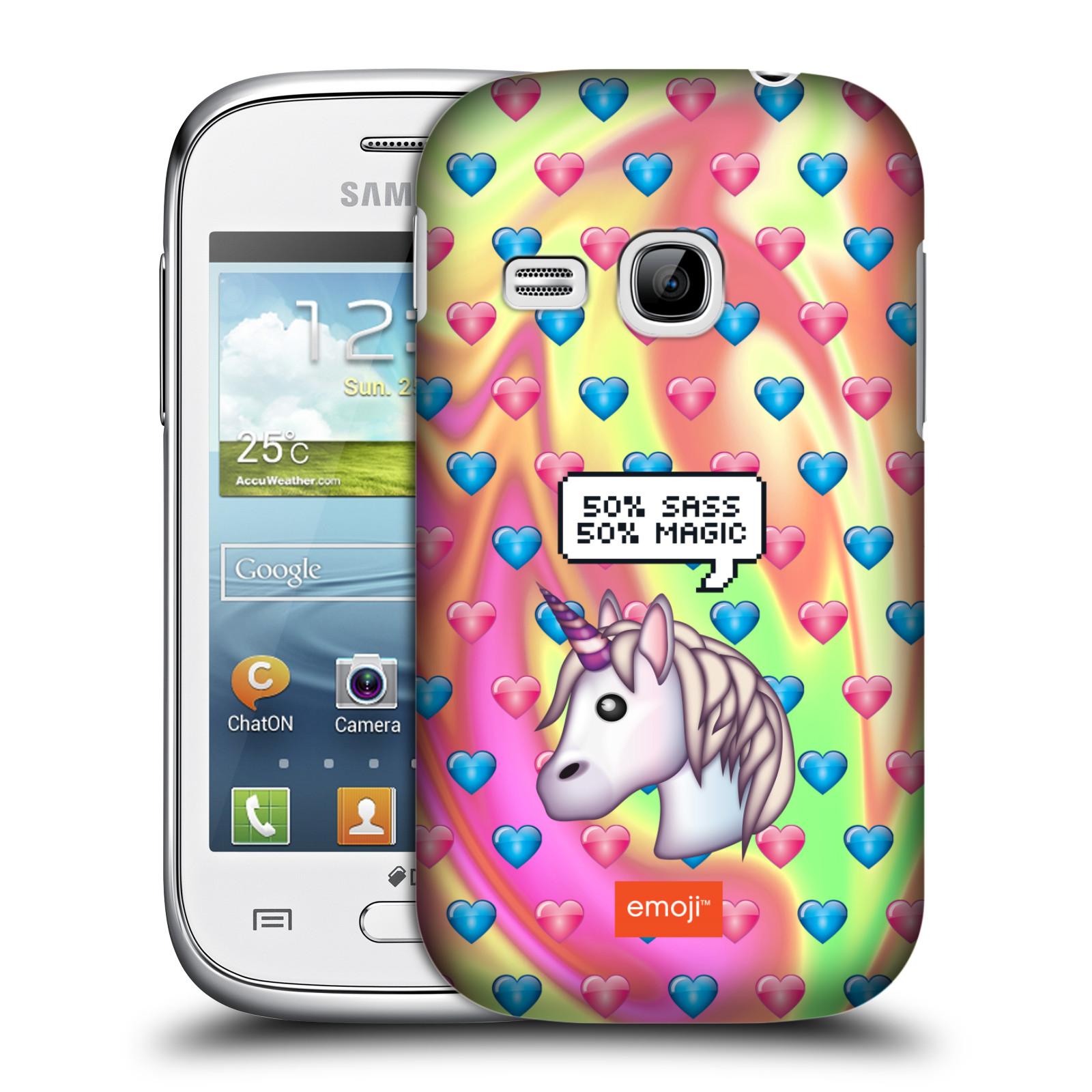 Plastové pouzdro na mobil Samsung Galaxy Young HEAD CASE EMOJI - Jednorožec (Kryt či obal s oficiálním motivem EMOJI na mobilní telefon Samsung Galaxy Young GT-S6310)