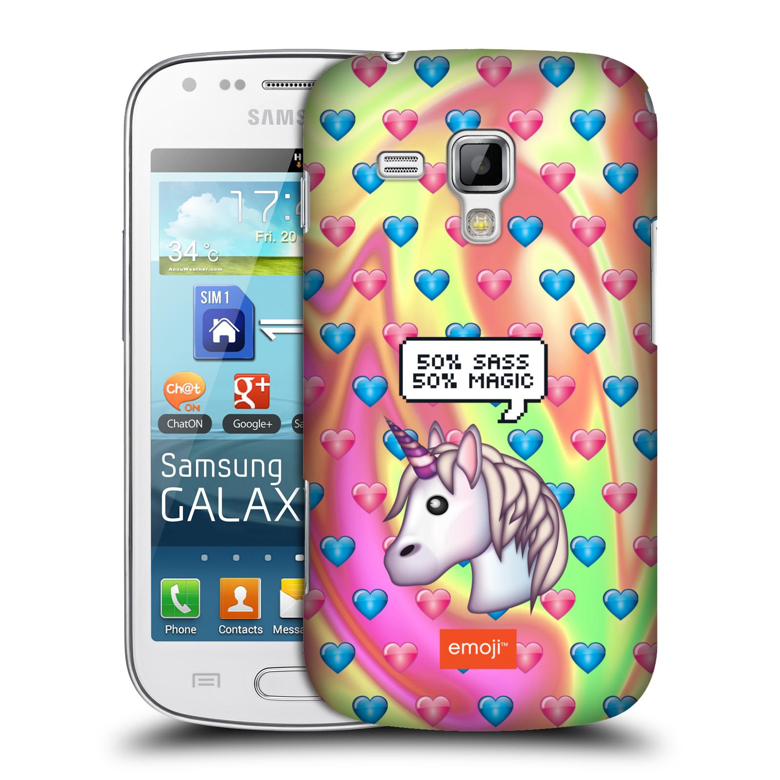 Plastové pouzdro na mobil Samsung Galaxy Trend HEAD CASE EMOJI - Jednorožec (Kryt či obal s oficiálním motivem EMOJI na mobilní telefon Samsung Galaxy Trend GT-S7560)