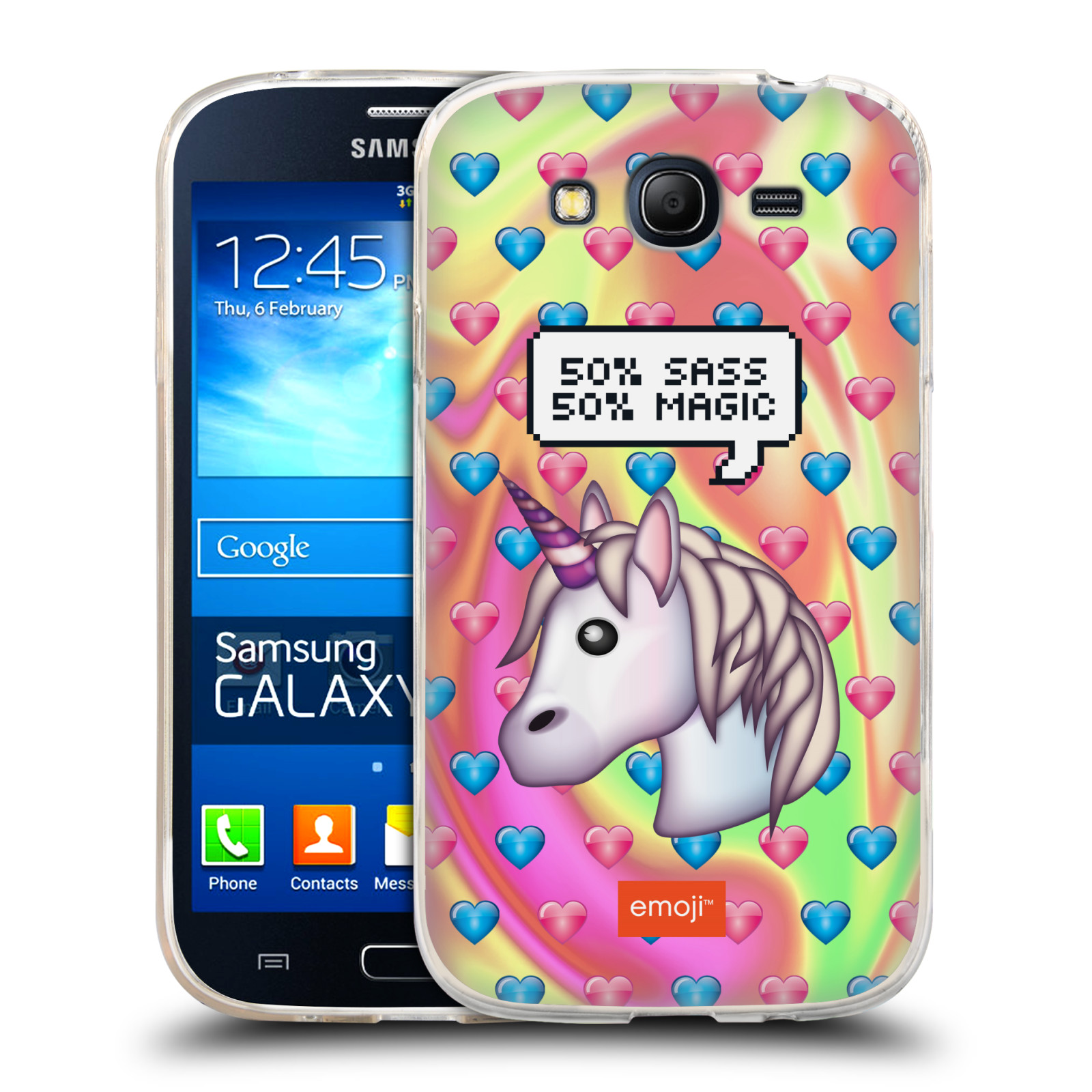 Silikonové pouzdro na mobil Samsung Galaxy Grand Neo Plus HEAD CASE EMOJI - Jednorožec (Silikonový kryt či obal s oficiálním motivem EMOJI na mobilní telefon Samsung Galaxy Grand Neo Plus Duos GT-I9060i)