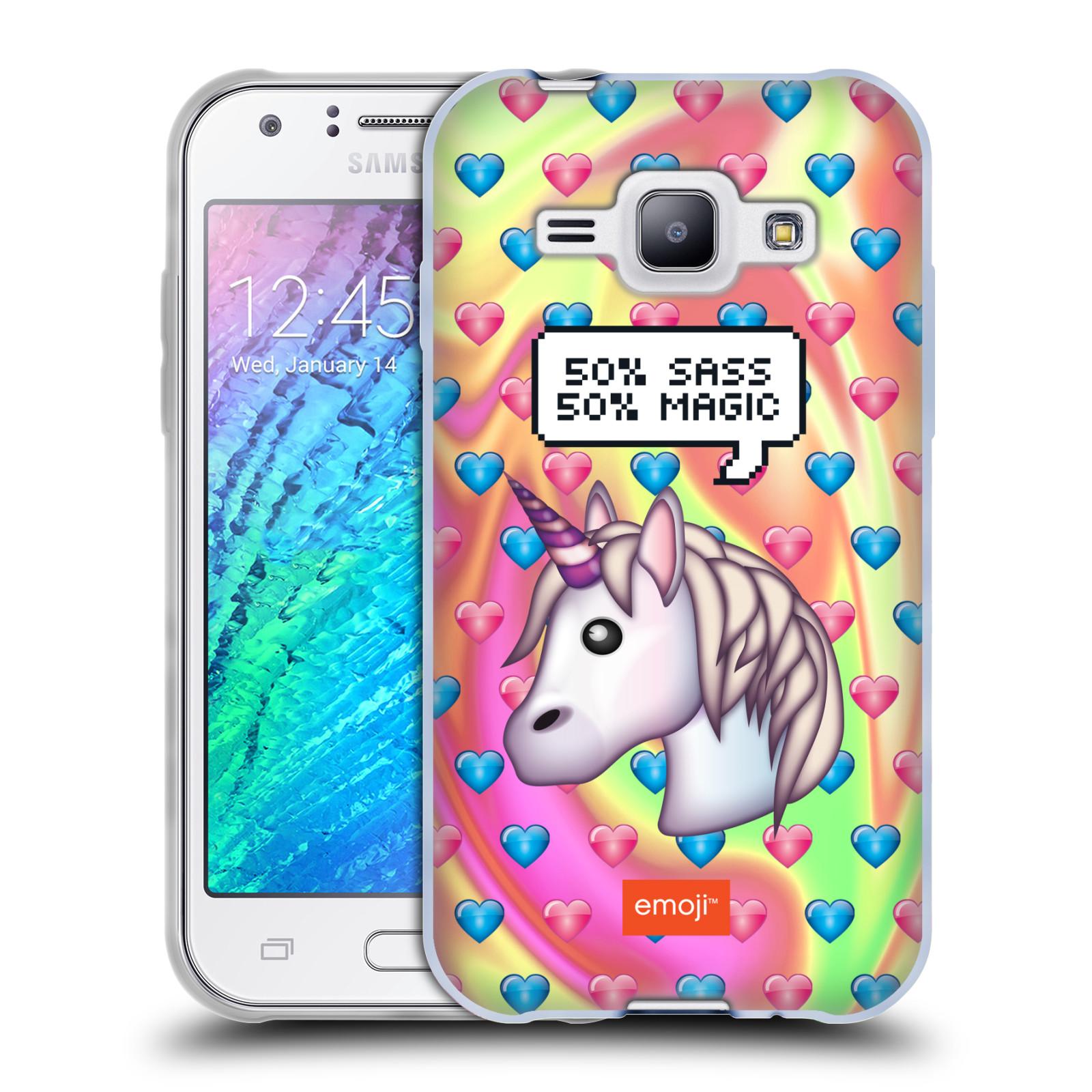 Silikonové pouzdro na mobil Samsung Galaxy J1 HEAD CASE EMOJI - Jednorožec (Silikonový kryt či obal s oficiálním motivem EMOJI na mobilní telefon Samsung Galaxy J1 a J1 Duos)