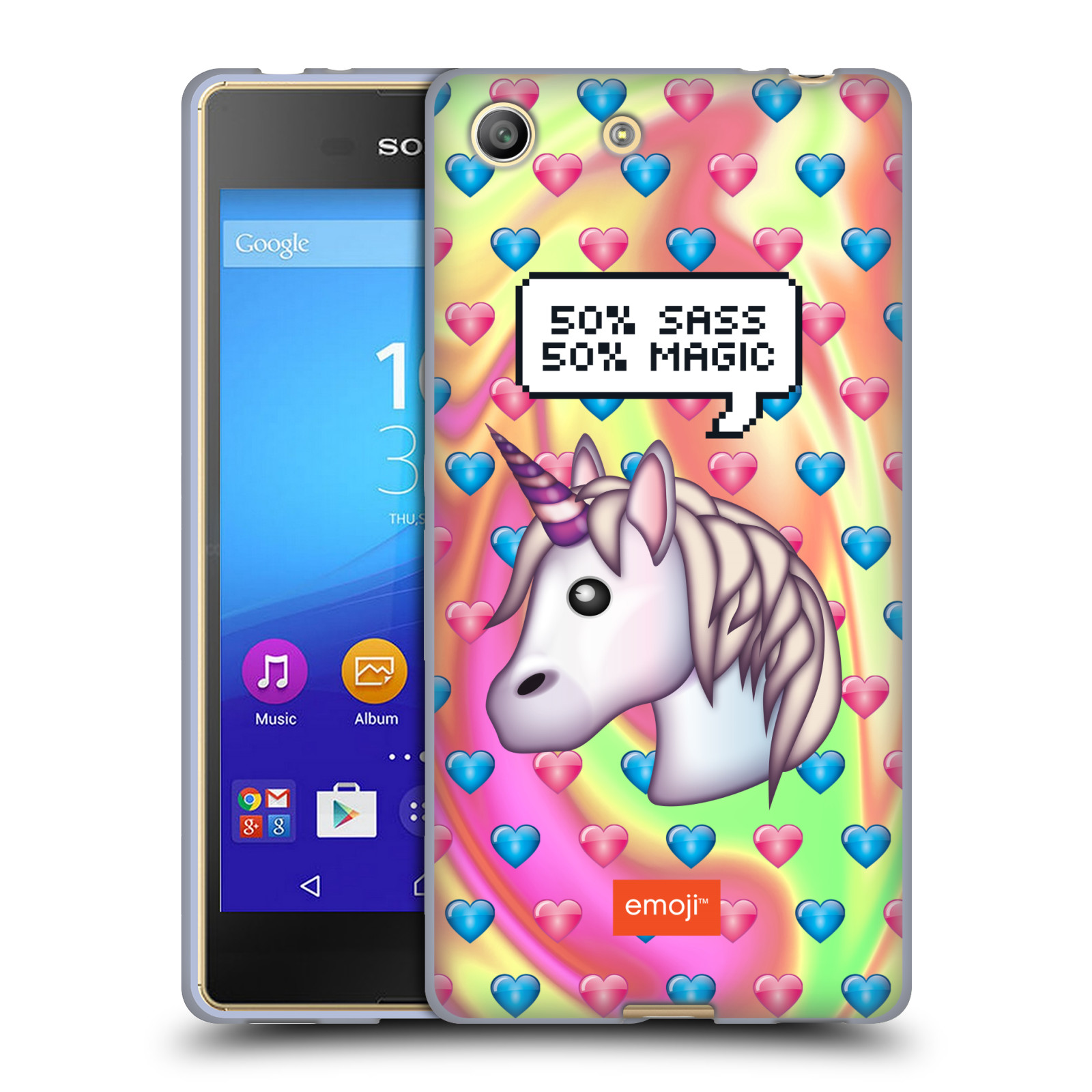 Silikonové pouzdro na mobil Sony Xperia M5 HEAD CASE EMOJI - Jednorožec (Silikonový kryt či obal s oficiálním motivem EMOJI na mobilní telefon Sony Xperia M5 Dual SIM / Aqua)