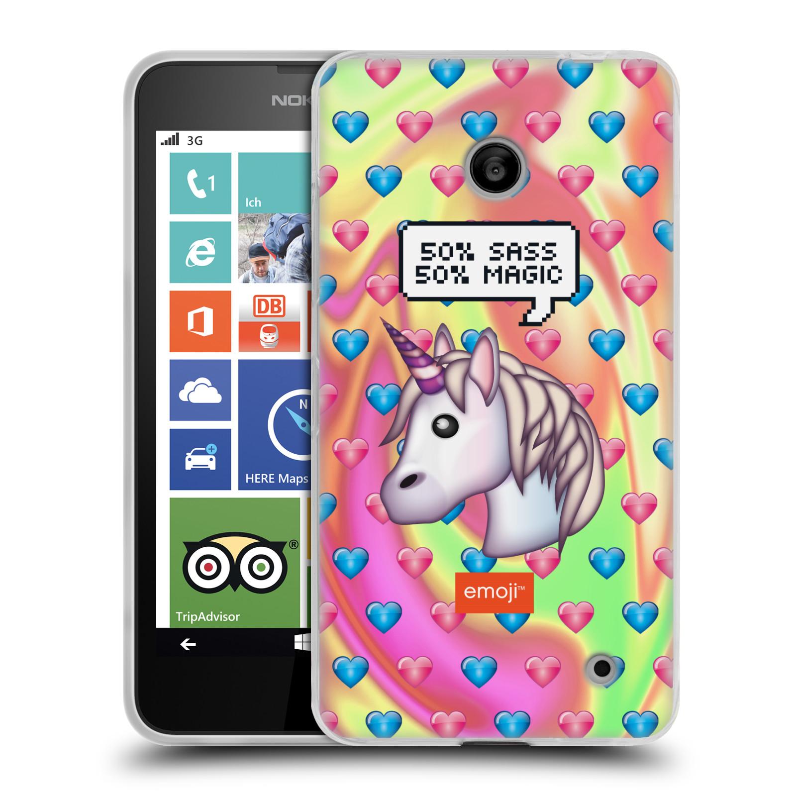 Silikonové pouzdro na mobil Nokia Lumia 635 HEAD CASE EMOJI - Jednorožec (Silikonový kryt či obal s oficiálním motivem EMOJI na mobilní telefon Nokia Lumia 635 Dual SIM)