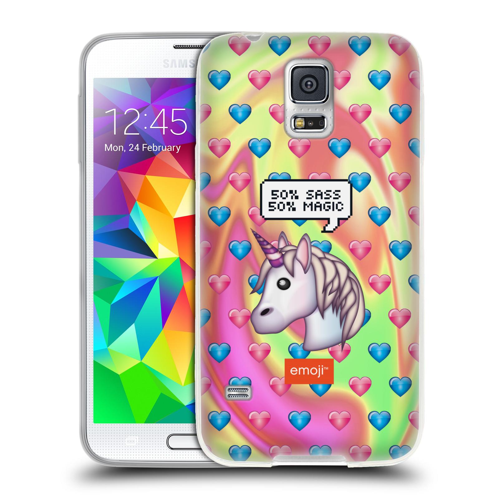 Silikonové pouzdro na mobil Samsung Galaxy S5 HEAD CASE EMOJI - Jednorožec (Silikonový kryt či obal s oficiálním motivem EMOJI na mobilní telefon Samsung Galaxy S5 SM-G900F)