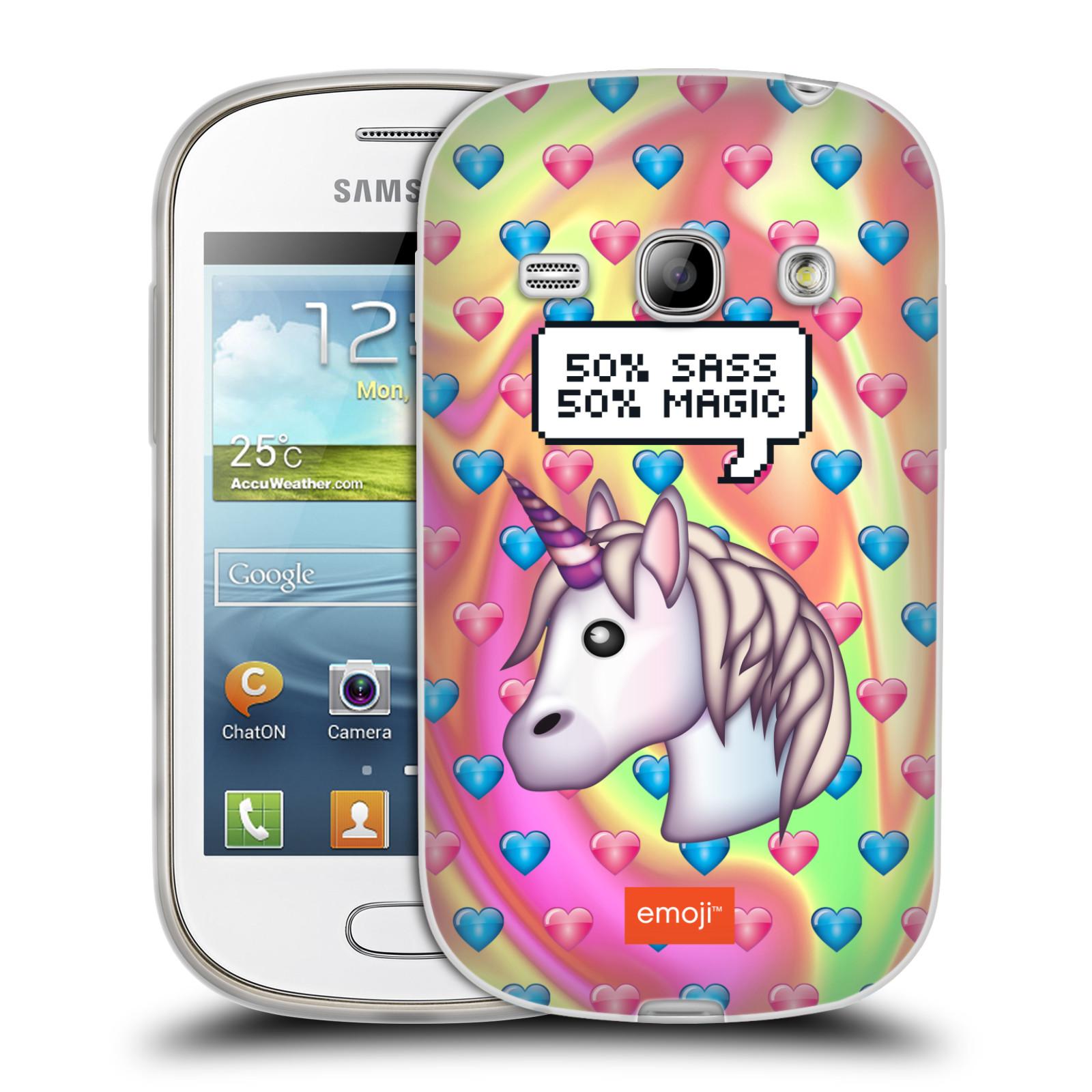 Silikonové pouzdro na mobil Samsung Galaxy Fame HEAD CASE EMOJI - Jednorožec (Silikonový kryt či obal s oficiálním motivem EMOJI na mobilní telefon Samsung Galaxy Fame GT-S6810)