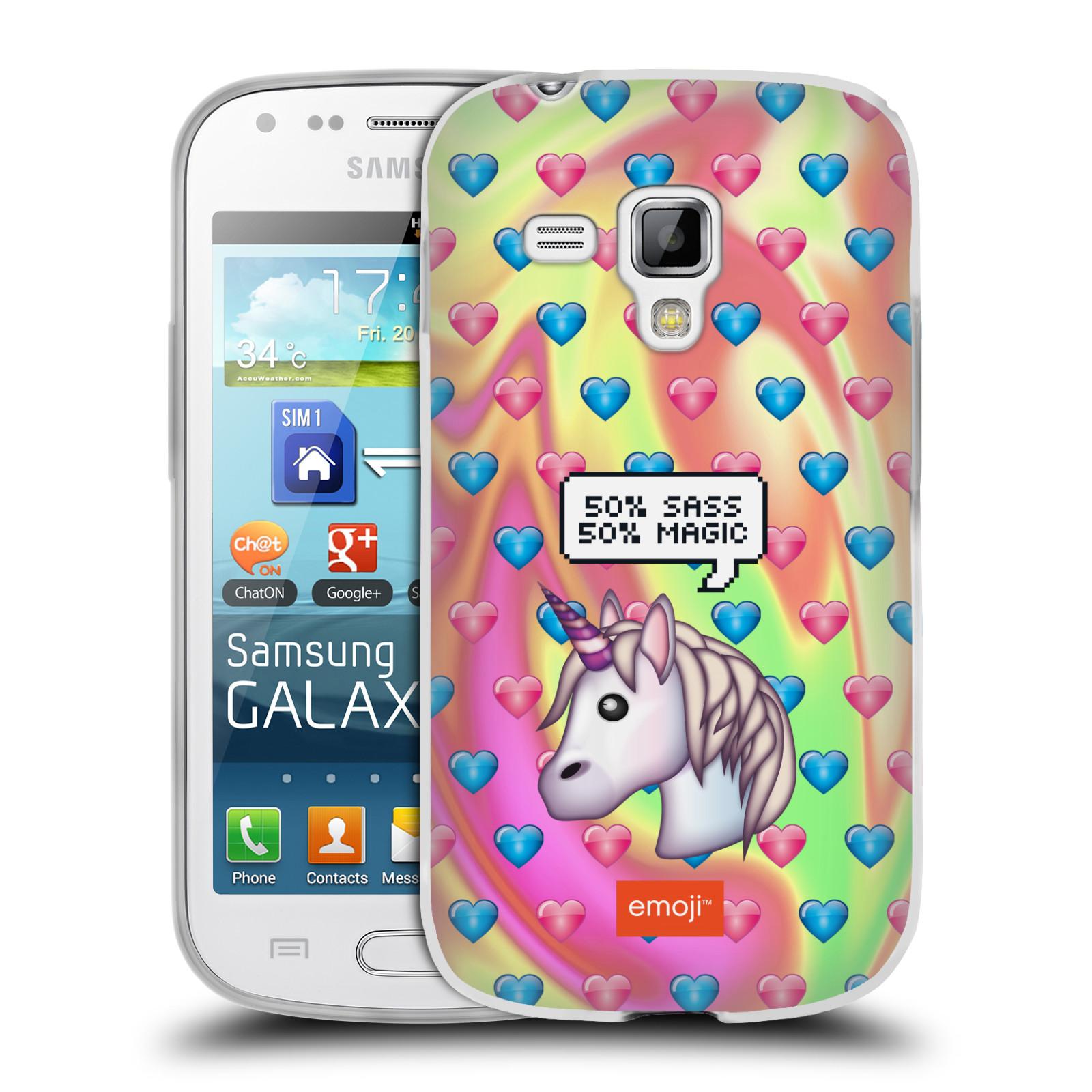Silikonové pouzdro na mobil Samsung Galaxy Trend HEAD CASE EMOJI - Jednorožec (Silikonový kryt či obal s oficiálním motivem EMOJI na mobilní telefon Samsung Galaxy Trend GT-S7560)