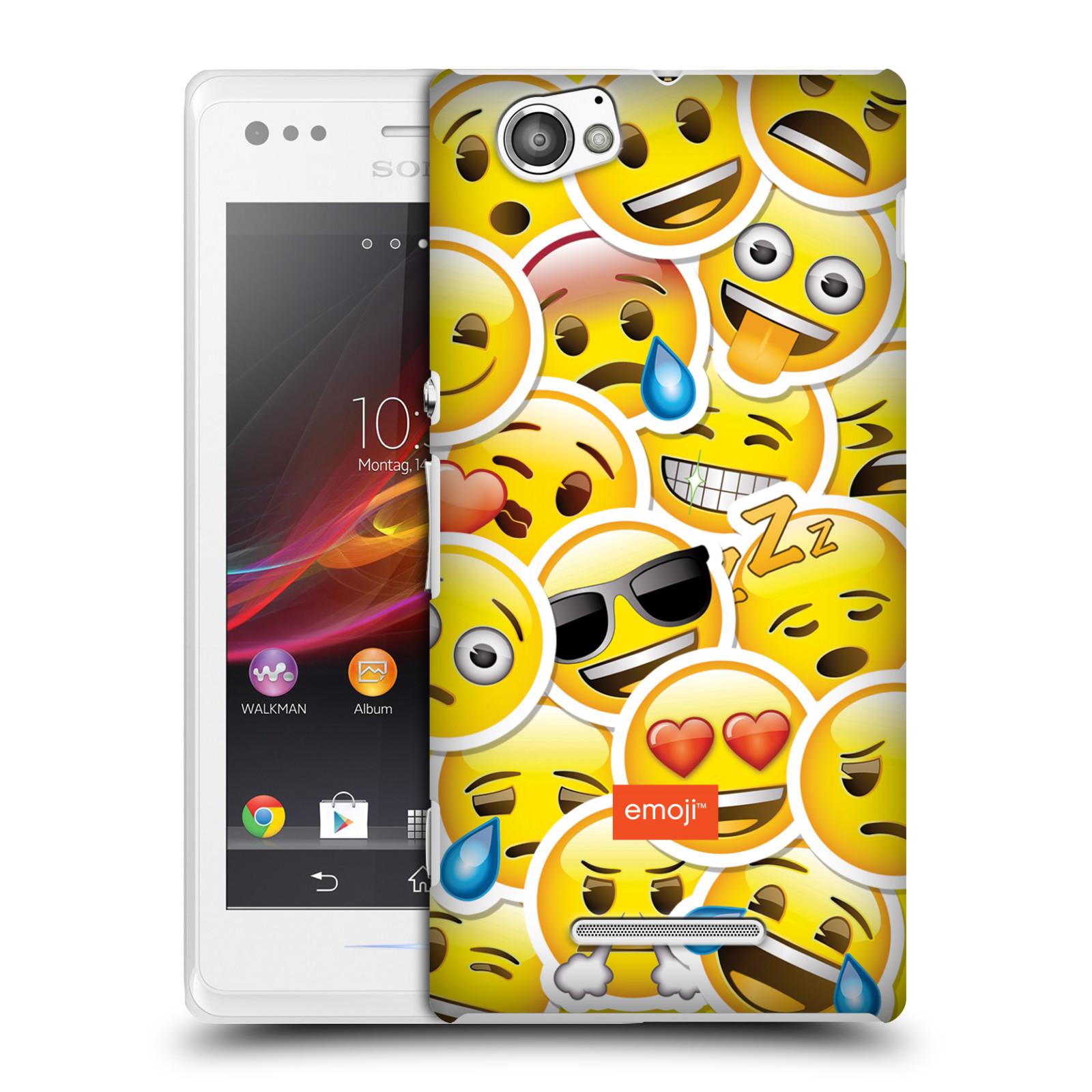 Plastové pouzdro na mobil Sony Xperia M C1905 HEAD CASE EMOJI - Velcí smajlíci ZZ (Kryt či obal s oficiálním motivem EMOJI na mobilní telefon Sony Xperia M )
