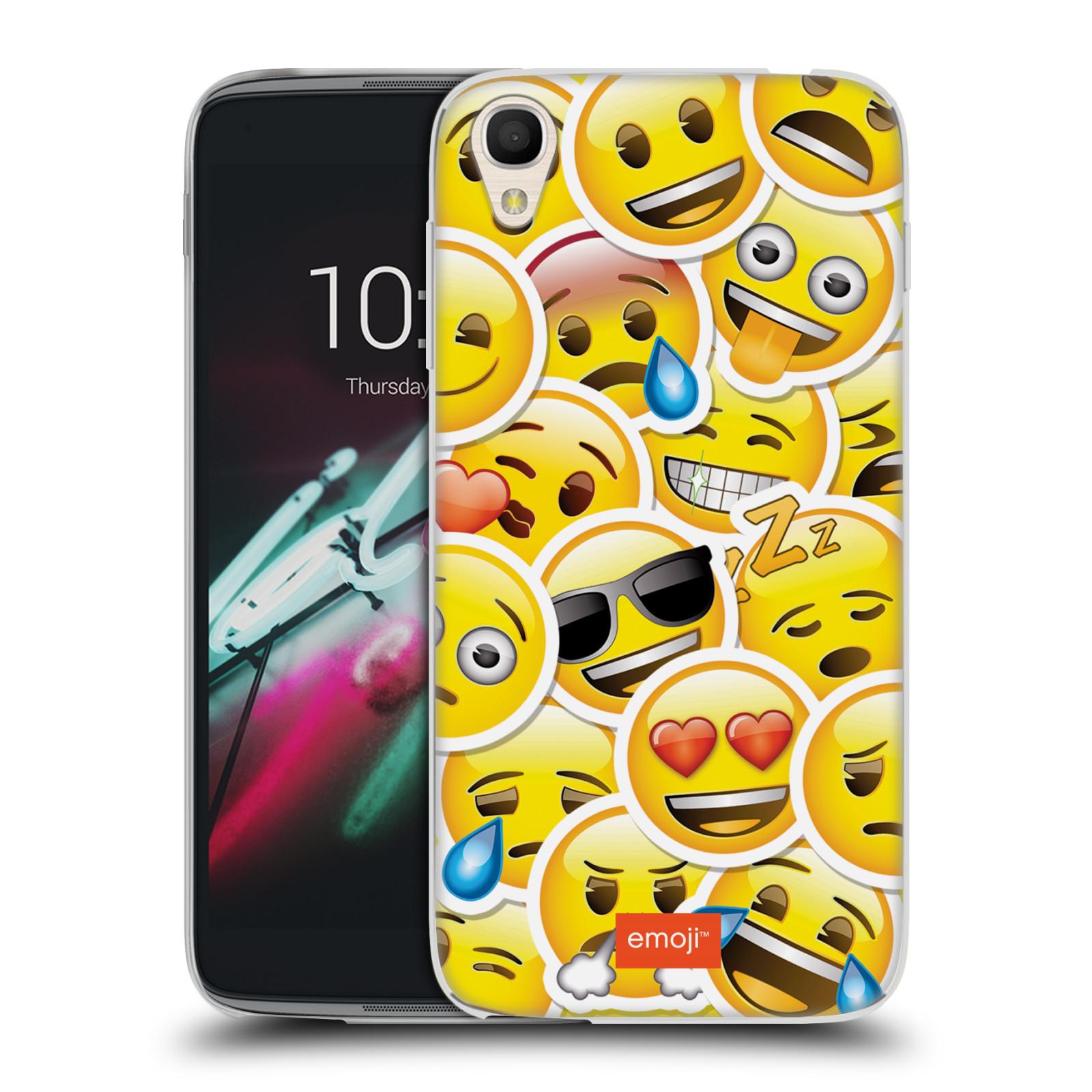 """Silikonové pouzdro na mobil Alcatel One Touch 6039Y Idol 3 HEAD CASE EMOJI - Velcí smajlíci ZZ (Silikonový kryt či obal s oficiálním motivem EMOJI na mobilní telefon Alcatel One Touch Idol 3 OT-6039Y s 4,7"""" displejem)"""