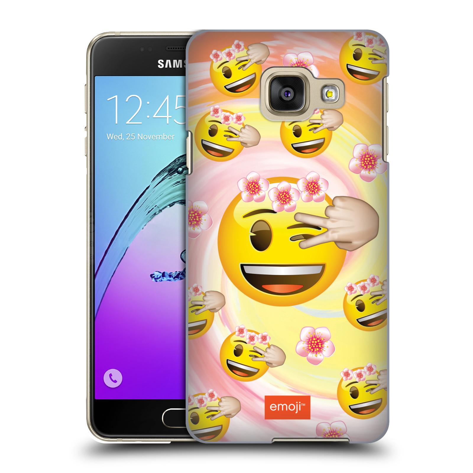 Plastové pouzdro na mobil Samsung Galaxy A3 (2016) HEAD CASE EMOJI - Mrkající smajlíci a kytičky