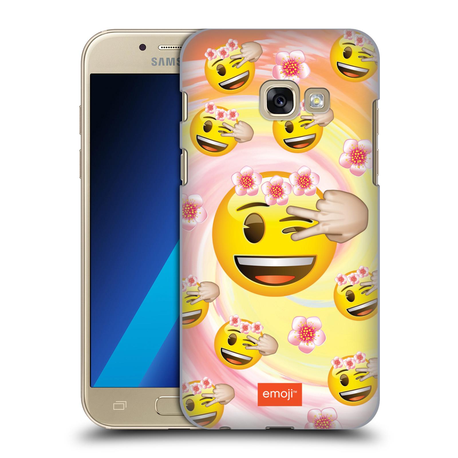 Plastové pouzdro na mobil Samsung Galaxy A3 (2017) HEAD CASE EMOJI - Mrkající smajlíci a kytičky