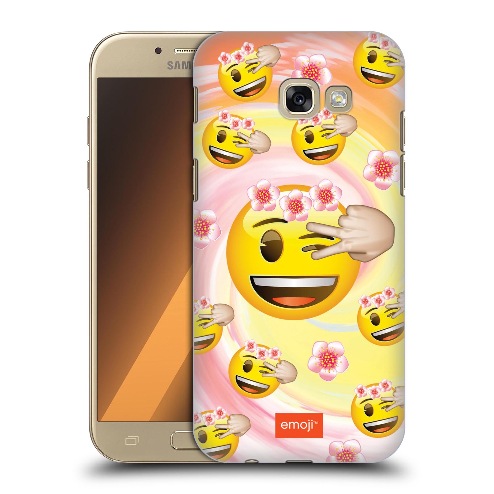 Plastové pouzdro na mobil Samsung Galaxy A5 (2017) HEAD CASE EMOJI - Mrkající smajlíci a kytičky