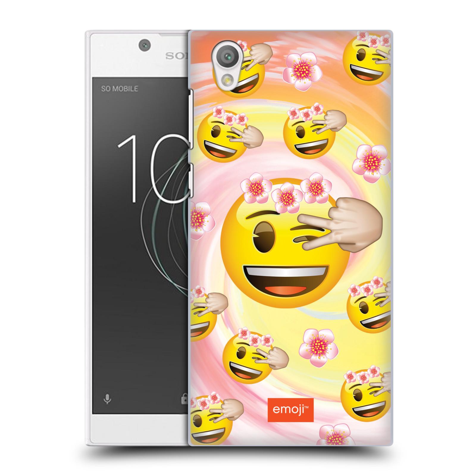 Plastové pouzdro na mobil Sony Xperia L1 - Head Case - EMOJI - Mrkající smajlíci a kytičky
