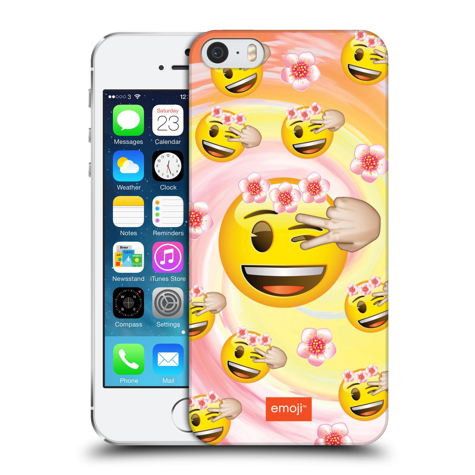 Plastové pouzdro na mobil Apple iPhone SE, 5 a 5S HEAD CASE EMOJI - Mrkající smajlíci a kytičky