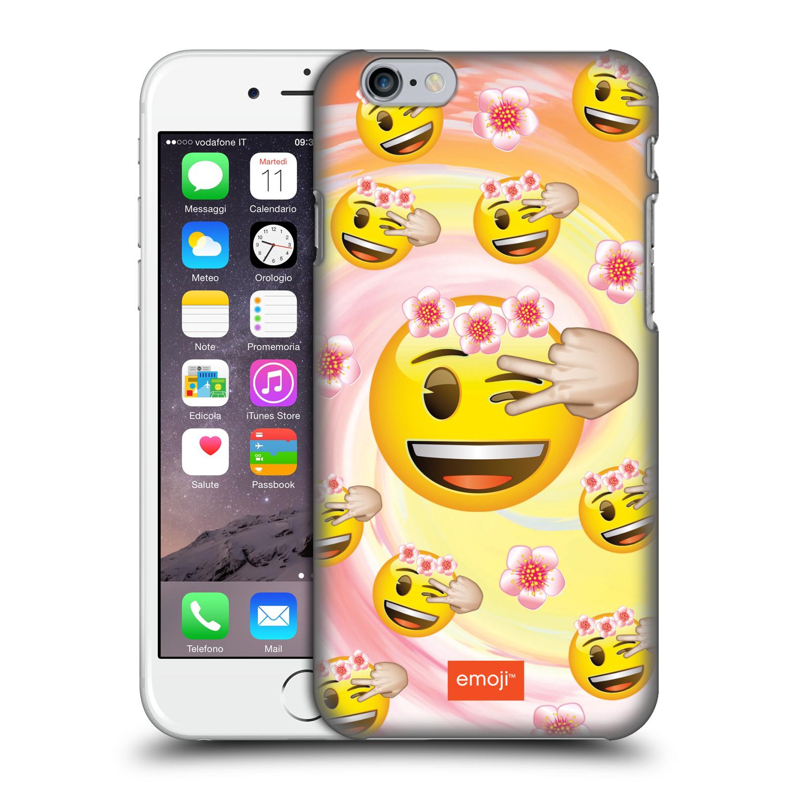 Plastové pouzdro na mobil Apple iPhone 6 HEAD CASE EMOJI - Mrkající smajlíci a kytičky