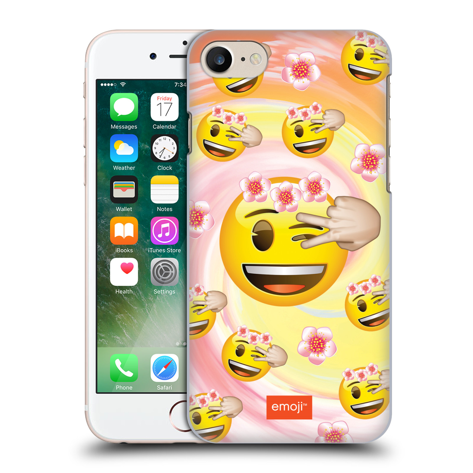 Plastové pouzdro na mobil Apple iPhone 7 HEAD CASE EMOJI - Mrkající smajlíci a kytičky