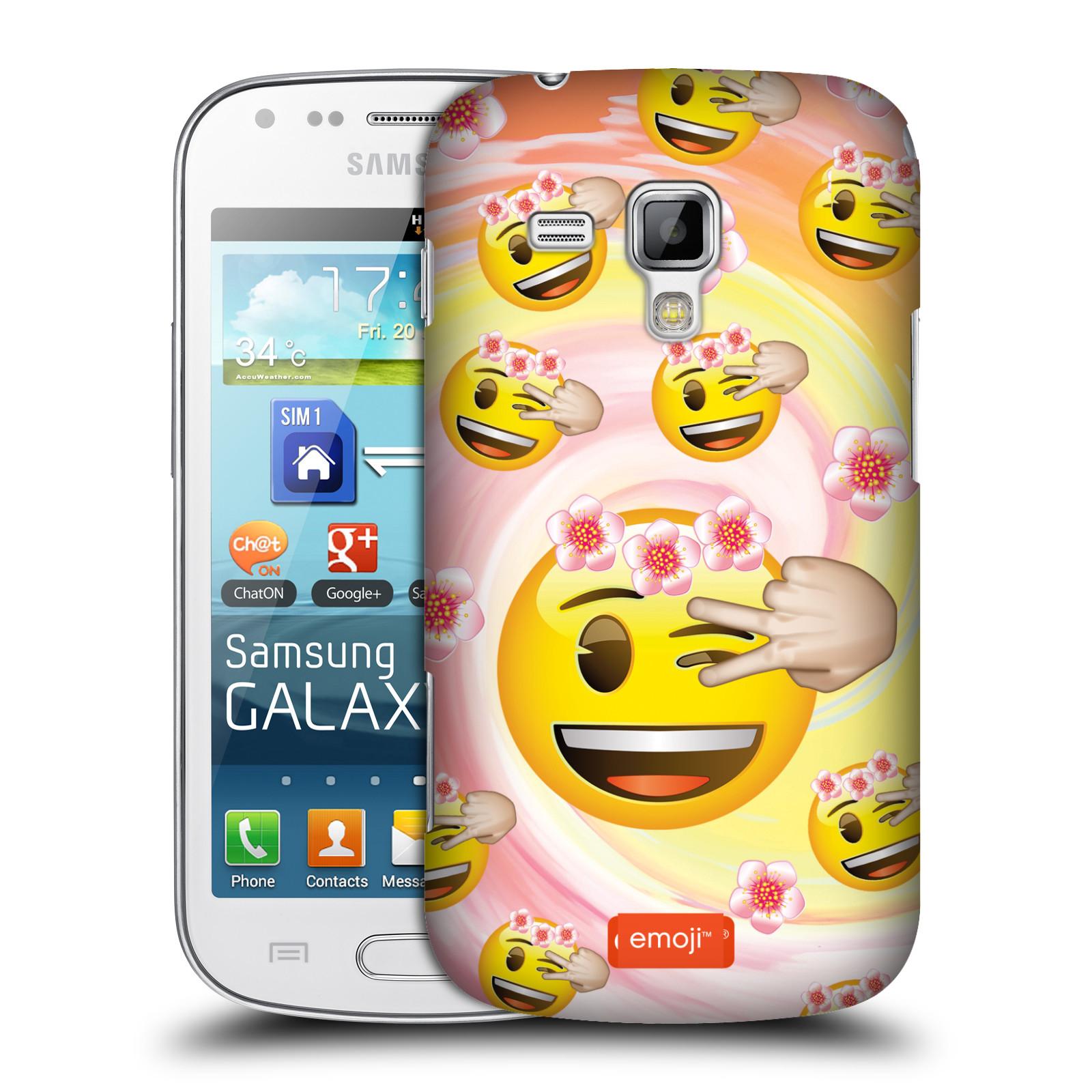Plastové pouzdro na mobil Samsung Galaxy Trend Plus HEAD CASE EMOJI - Mrkající smajlíci a kytičky