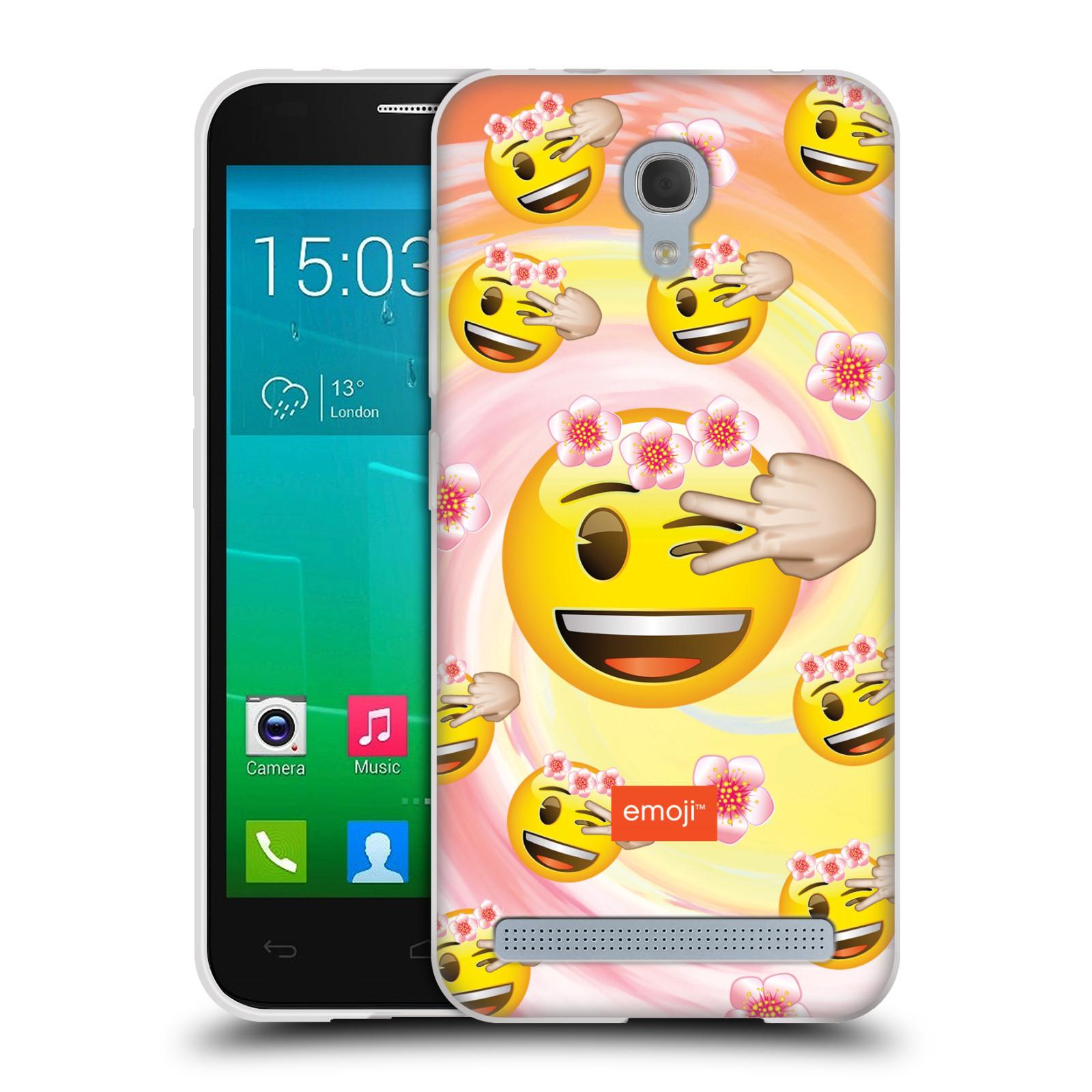 Silikonové pouzdro na mobil Alcatel One Touch Idol 2 Mini S 6036Y HEAD CASE EMOJI - Mrkající smajlíci a kytičky (Silikonový kryt či obal s oficiálním motivem EMOJI na mobilní telefon Alcatel Idol 2 Mini S OT-6036Y)