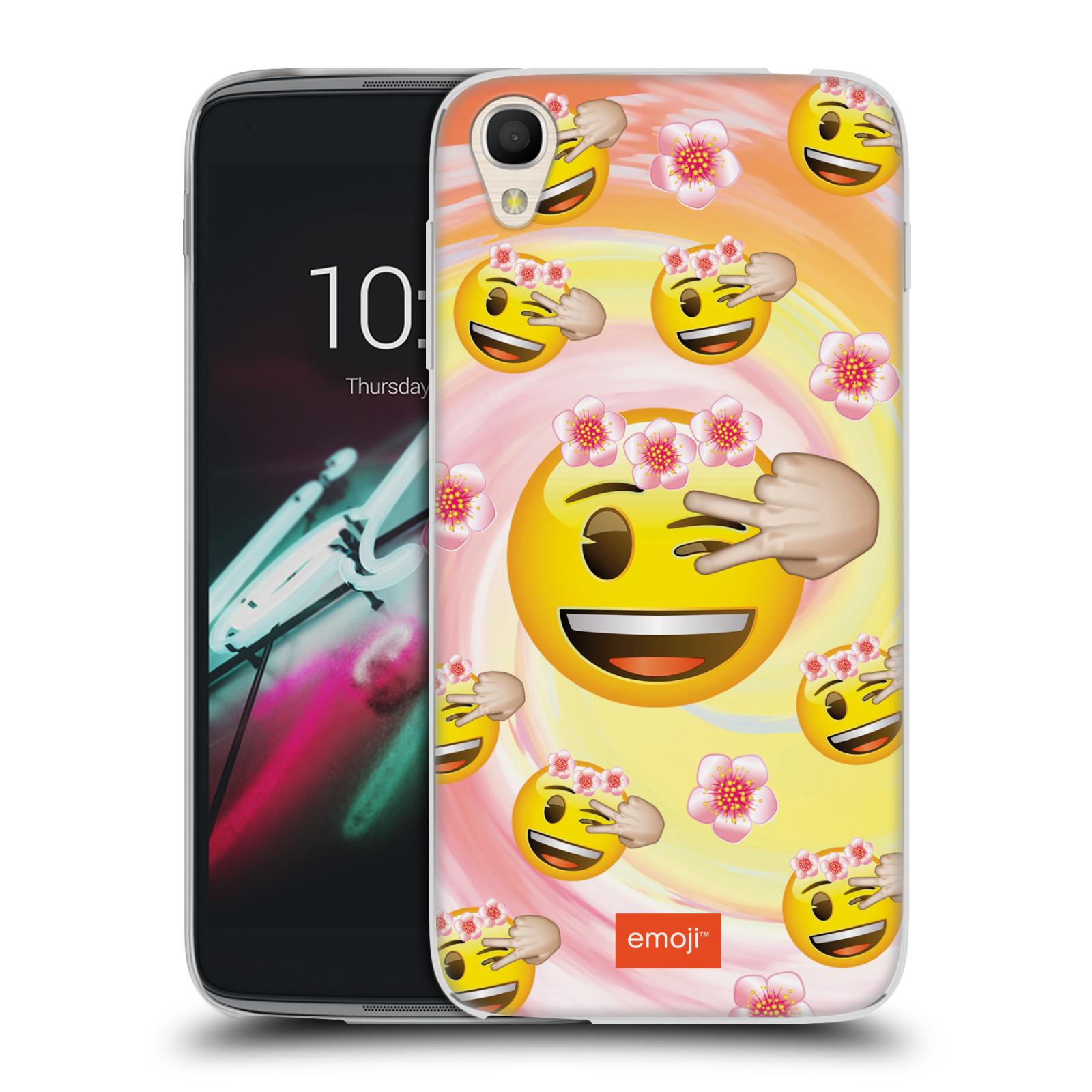 """Silikonové pouzdro na mobil Alcatel One Touch 6039Y Idol 3 HEAD CASE EMOJI - Mrkající smajlíci a kytičky (Silikonový kryt či obal s oficiálním motivem EMOJI na mobilní telefon Alcatel One Touch Idol 3 OT-6039Y s 4,7"""" displejem)"""