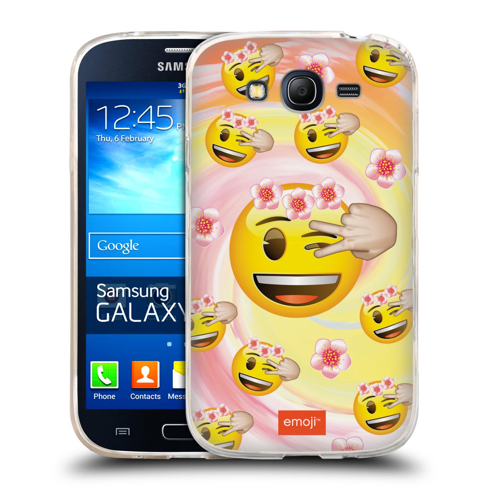 Silikonové pouzdro na mobil Samsung Galaxy Grand Neo Plus HEAD CASE EMOJI - Mrkající smajlíci a kytičky (Silikonový kryt či obal s oficiálním motivem EMOJI na mobilní telefon Samsung Galaxy Grand Neo Plus Duos GT-I9060i)