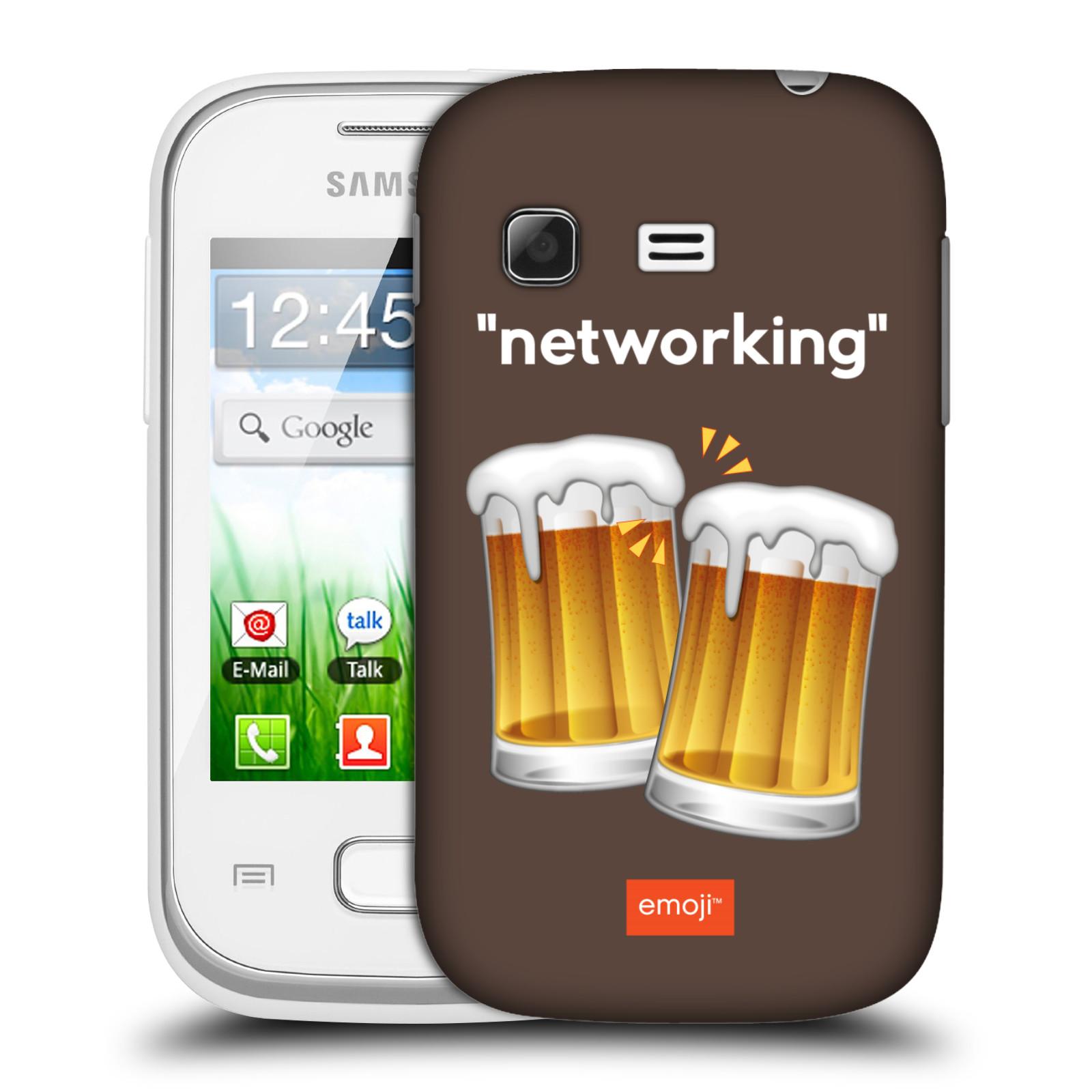 Plastové pouzdro na mobil Samsung Galaxy Pocket HEAD CASE EMOJI - Pivní networking (Kryt či obal s oficiálním motivem EMOJI na mobilní telefon Samsung Galaxy Pocket GT-S5300)
