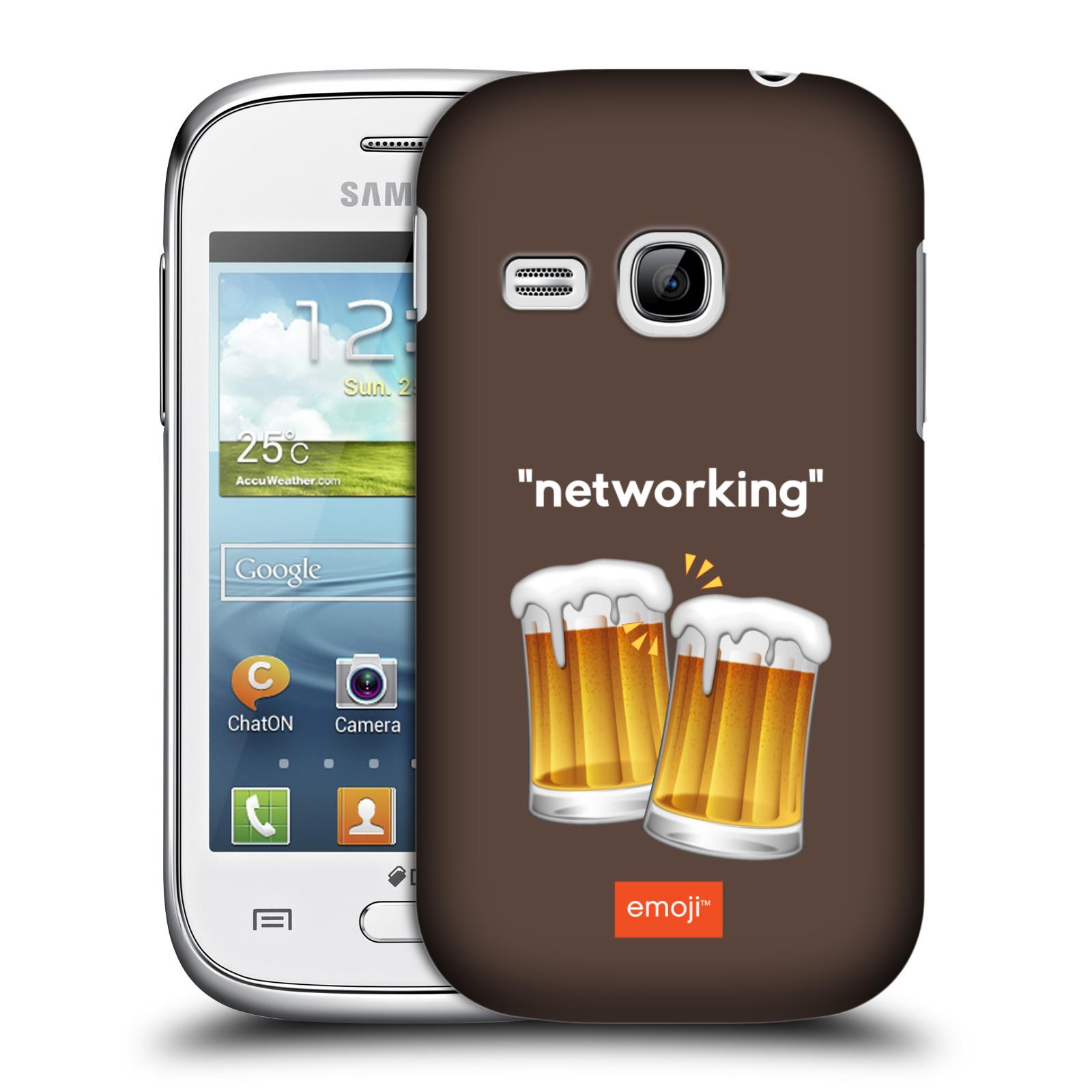 Plastové pouzdro na mobil Samsung Galaxy Young HEAD CASE EMOJI - Pivní networking (Kryt či obal s oficiálním motivem EMOJI na mobilní telefon Samsung Galaxy Young GT-S6310)