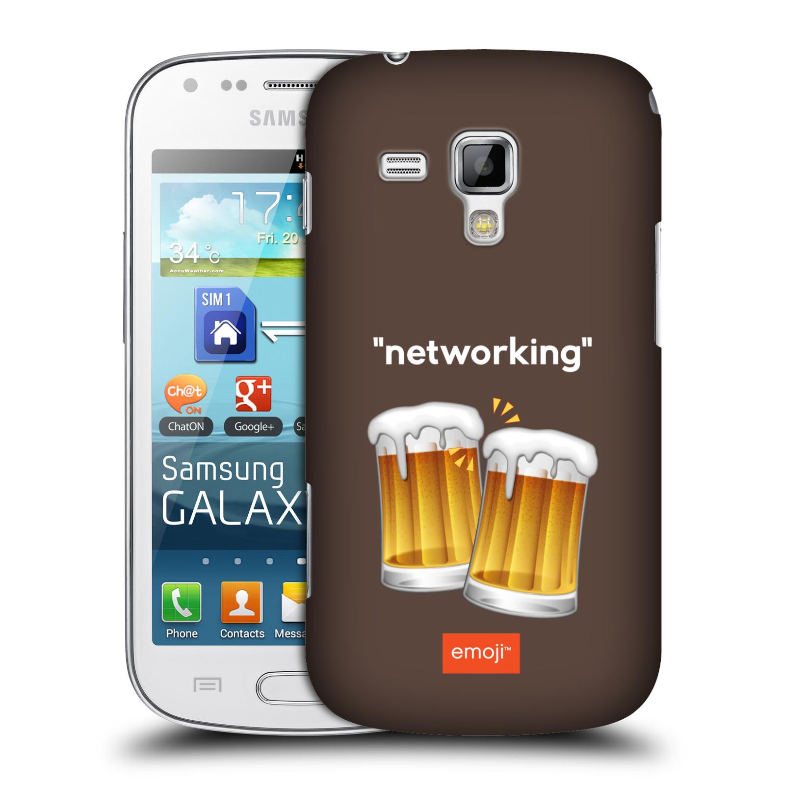 Plastové pouzdro na mobil Samsung Galaxy Trend HEAD CASE EMOJI - Pivní networking (Kryt či obal s oficiálním motivem EMOJI na mobilní telefon Samsung Galaxy Trend GT-S7560)