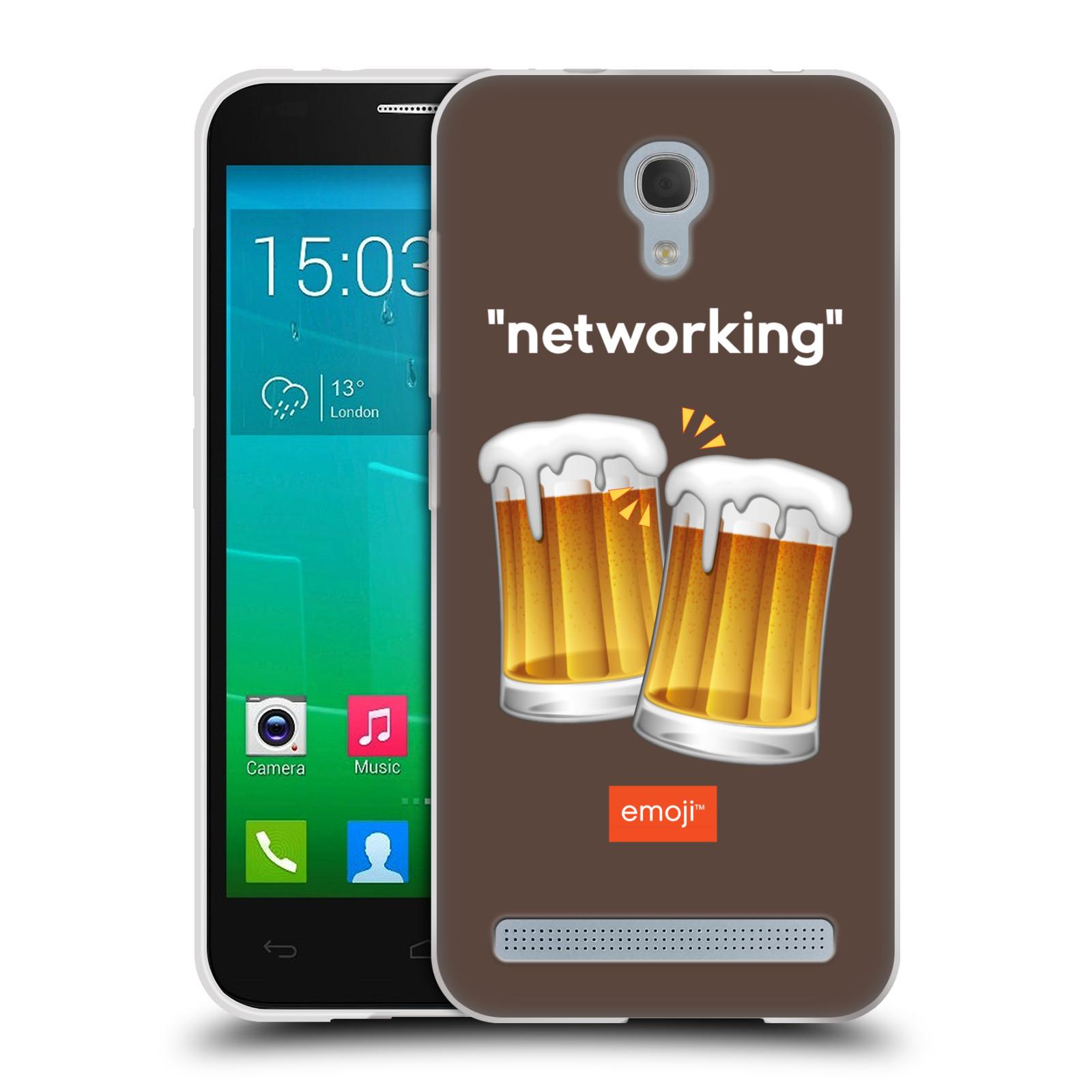Silikonové pouzdro na mobil Alcatel One Touch Idol 2 Mini S 6036Y HEAD CASE EMOJI - Pivní networking (Silikonový kryt či obal s oficiálním motivem EMOJI na mobilní telefon Alcatel Idol 2 Mini S OT-6036Y)