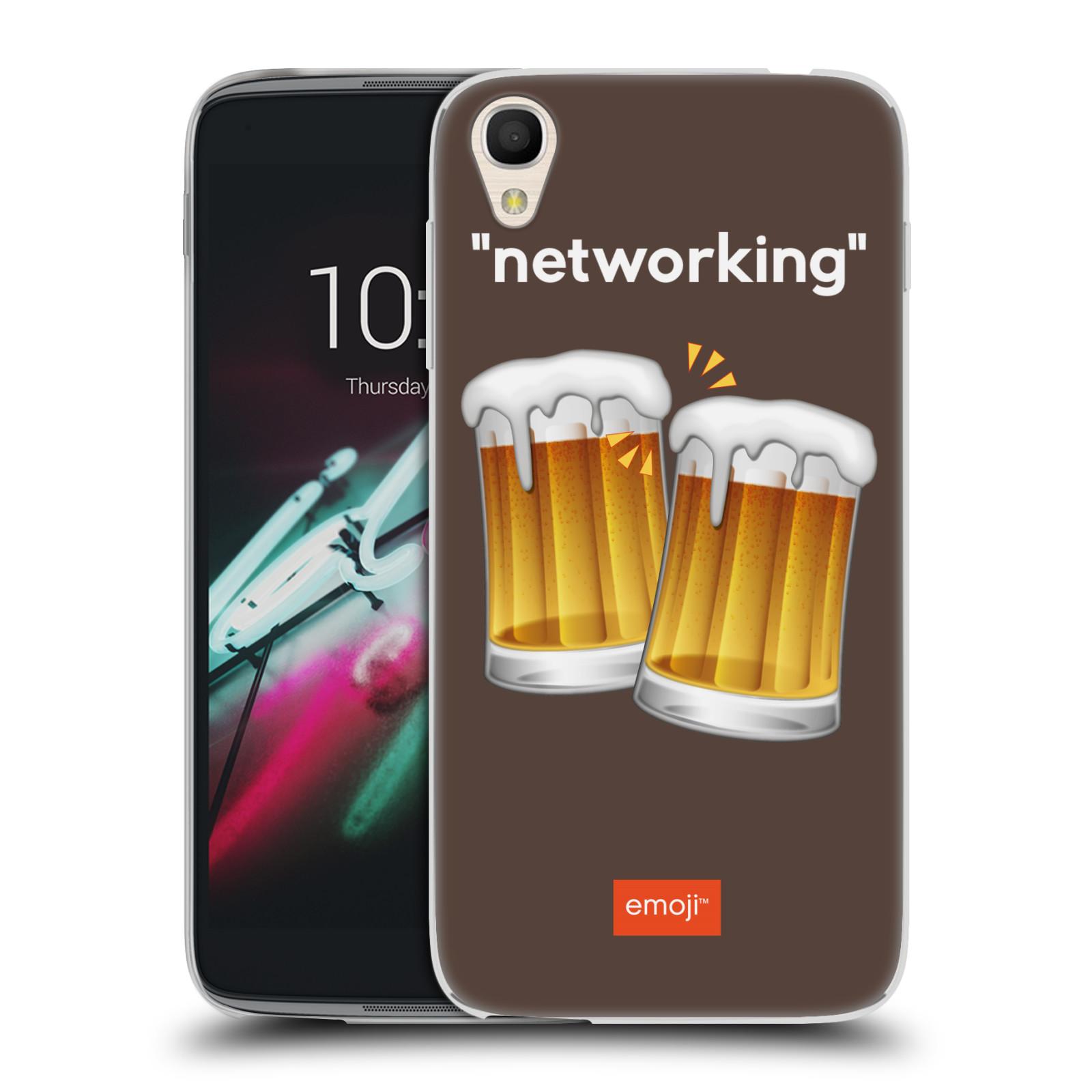 """Silikonové pouzdro na mobil Alcatel One Touch 6039Y Idol 3 HEAD CASE EMOJI - Pivní networking (Silikonový kryt či obal s oficiálním motivem EMOJI na mobilní telefon Alcatel One Touch Idol 3 OT-6039Y s 4,7"""" displejem)"""