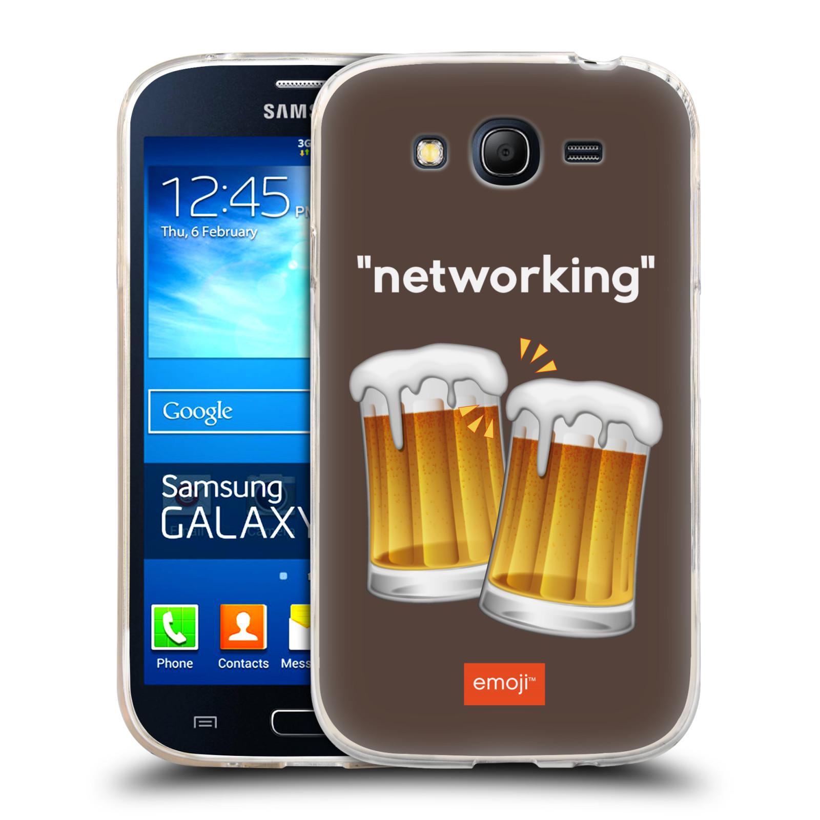 Silikonové pouzdro na mobil Samsung Galaxy Grand Neo Plus HEAD CASE EMOJI - Pivní networking (Silikonový kryt či obal s oficiálním motivem EMOJI na mobilní telefon Samsung Galaxy Grand Neo Plus Duos GT-I9060i)