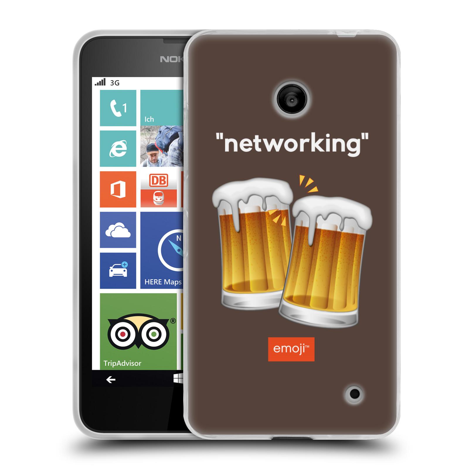 Silikonové pouzdro na mobil Nokia Lumia 635 HEAD CASE EMOJI - Pivní networking (Silikonový kryt či obal s oficiálním motivem EMOJI na mobilní telefon Nokia Lumia 635 Dual SIM)