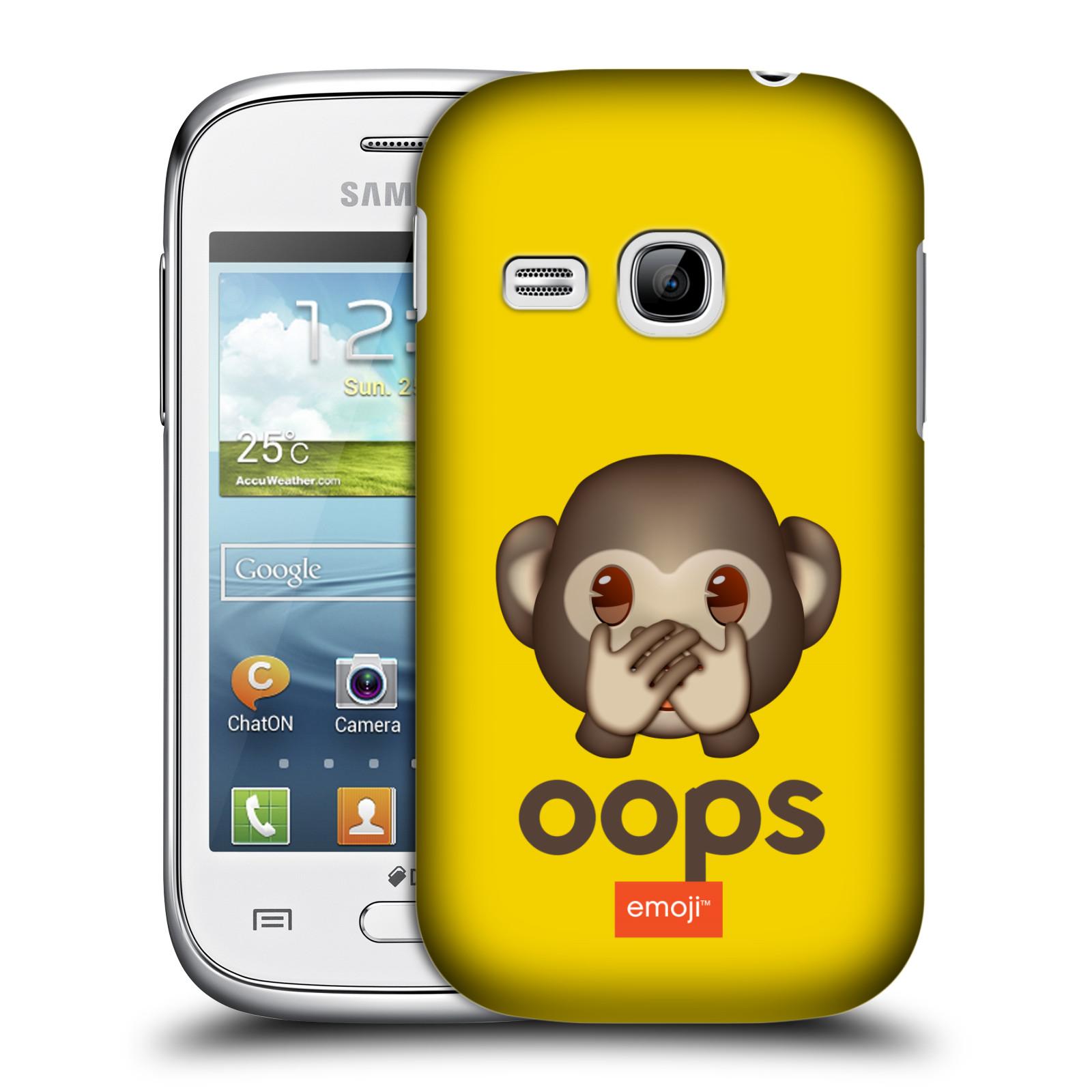 Plastové pouzdro na mobil Samsung Galaxy Young HEAD CASE EMOJI - Opička OOPS (Kryt či obal s oficiálním motivem EMOJI na mobilní telefon Samsung Galaxy Young GT-S6310)