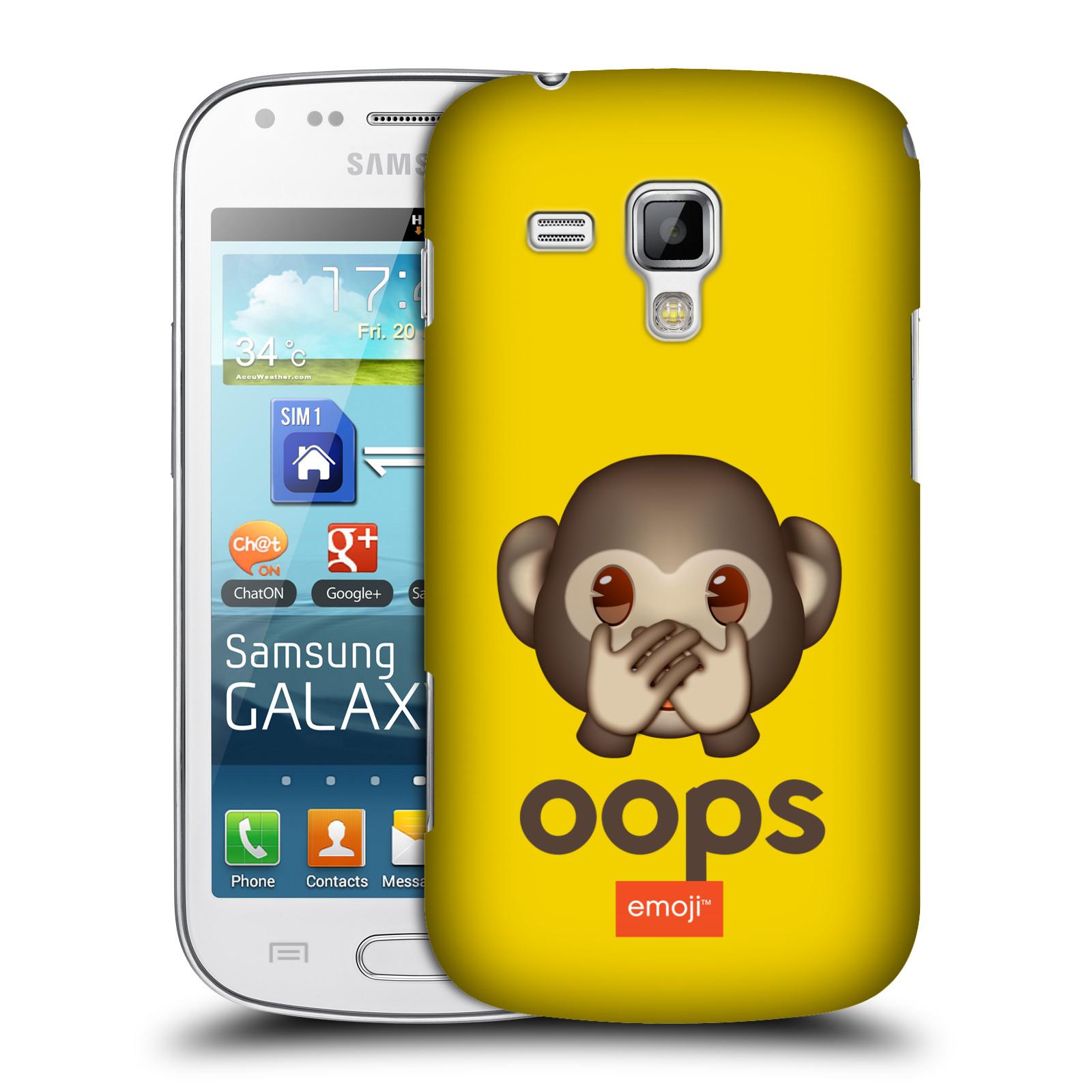 Plastové pouzdro na mobil Samsung Galaxy Trend HEAD CASE EMOJI - Opička OOPS (Kryt či obal s oficiálním motivem EMOJI na mobilní telefon Samsung Galaxy Trend GT-S7560)