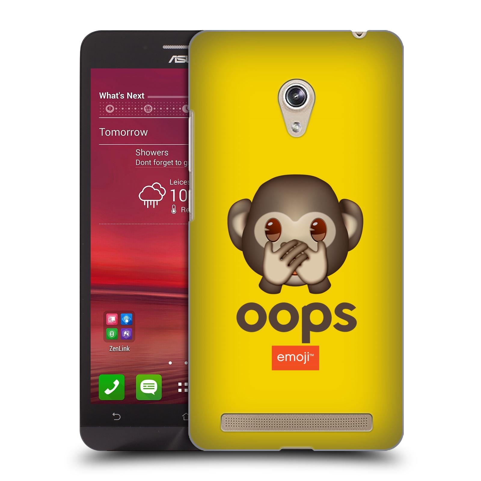 Plastové pouzdro na mobil Asus Zenfone 6 HEAD CASE EMOJI - Opička OOPS (Kryt či obal s oficiálním motivem EMOJI na mobilní telefon Asus Zenfone 6 A600CG / A601CG)