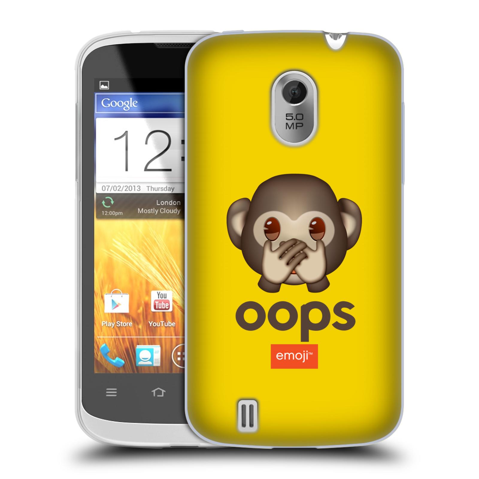 Silikonové pouzdro na mobil ZTE Blade III HEAD CASE EMOJI - Opička OOPS (Silikonový kryt či obal s oficiálním motivem EMOJI na mobilní telefon ZTE Blade 3)