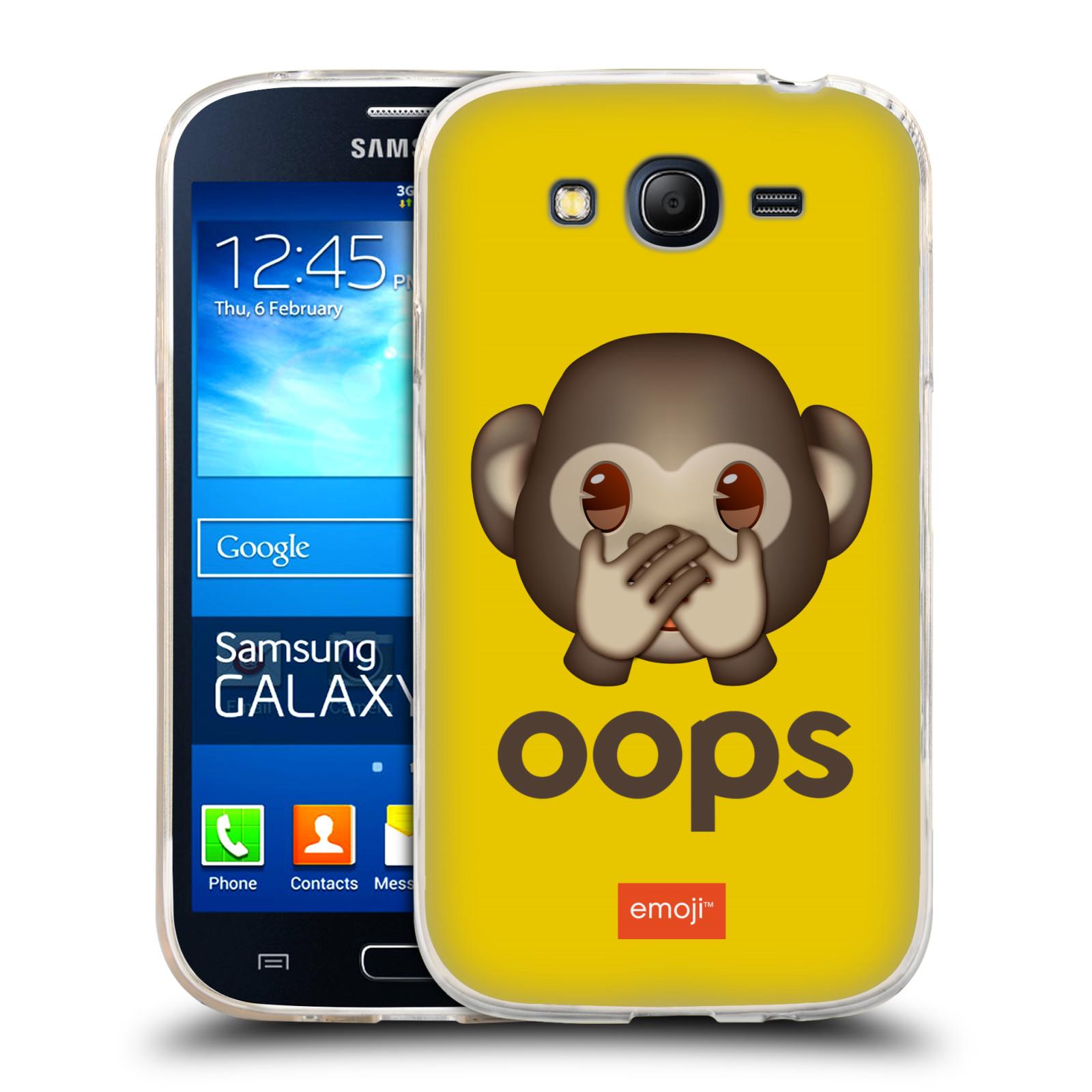 Silikonové pouzdro na mobil Samsung Galaxy Grand Neo Plus HEAD CASE EMOJI - Opička OOPS (Silikonový kryt či obal s oficiálním motivem EMOJI na mobilní telefon Samsung Galaxy Grand Neo Plus Duos GT-I9060i)