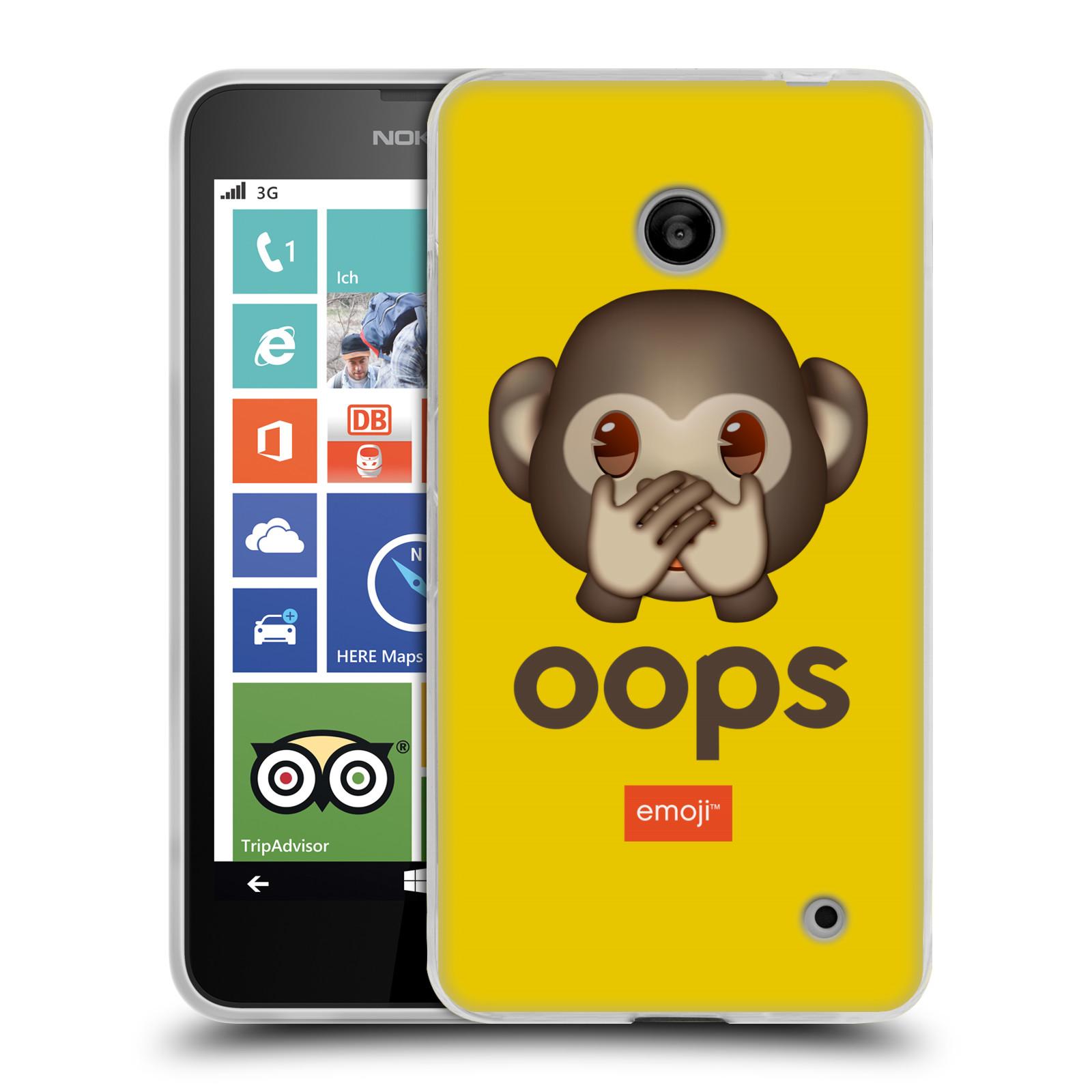 Silikonové pouzdro na mobil Nokia Lumia 635 HEAD CASE EMOJI - Opička OOPS (Silikonový kryt či obal s oficiálním motivem EMOJI na mobilní telefon Nokia Lumia 635 Dual SIM)
