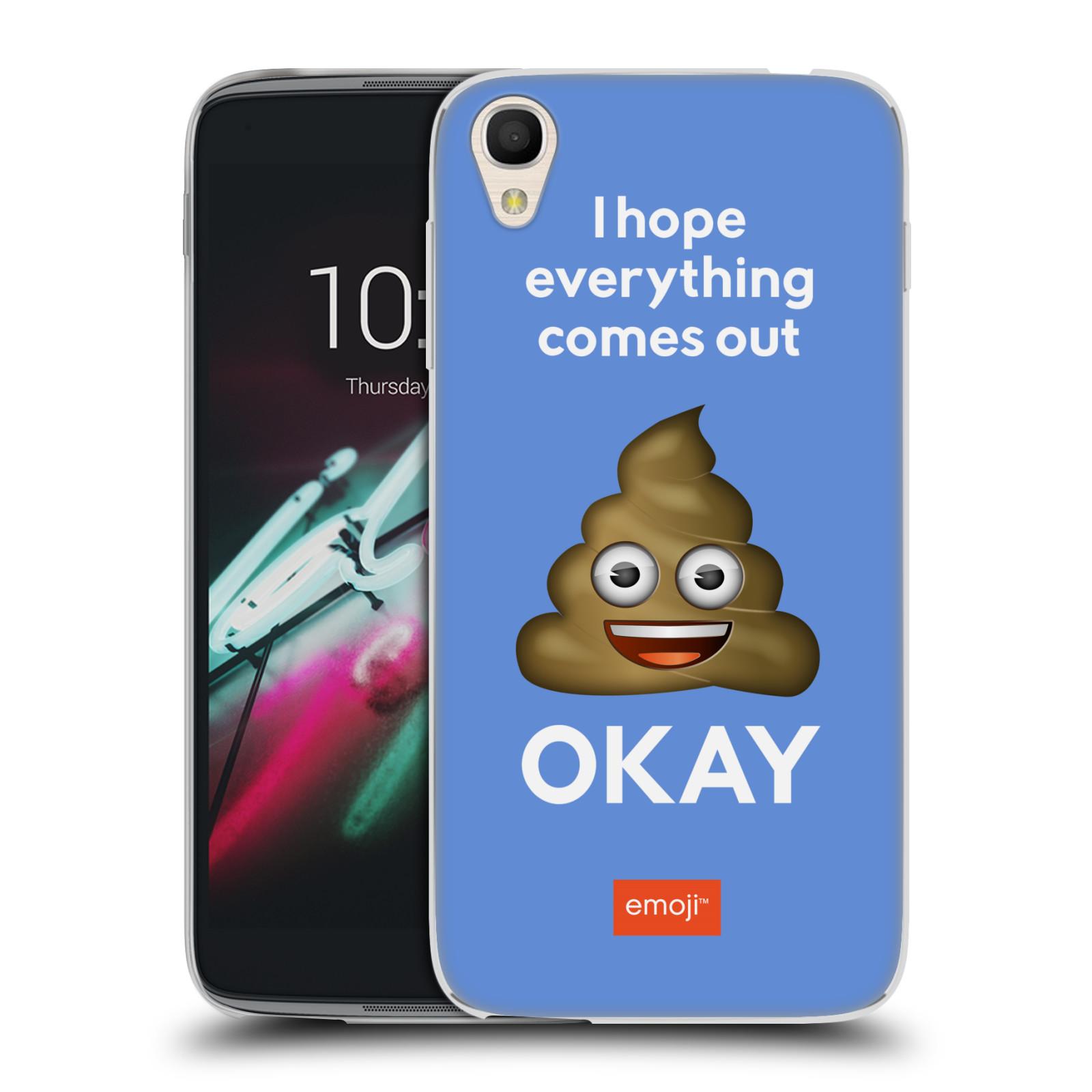 "Silikonové pouzdro na mobil Alcatel One Touch 6039Y Idol 3 HEAD CASE EMOJI - Hovínko OKAY (Silikonový kryt či obal s oficiálním motivem EMOJI na mobilní telefon Alcatel One Touch Idol 3 OT-6039Y s 4,7"" displejem)"