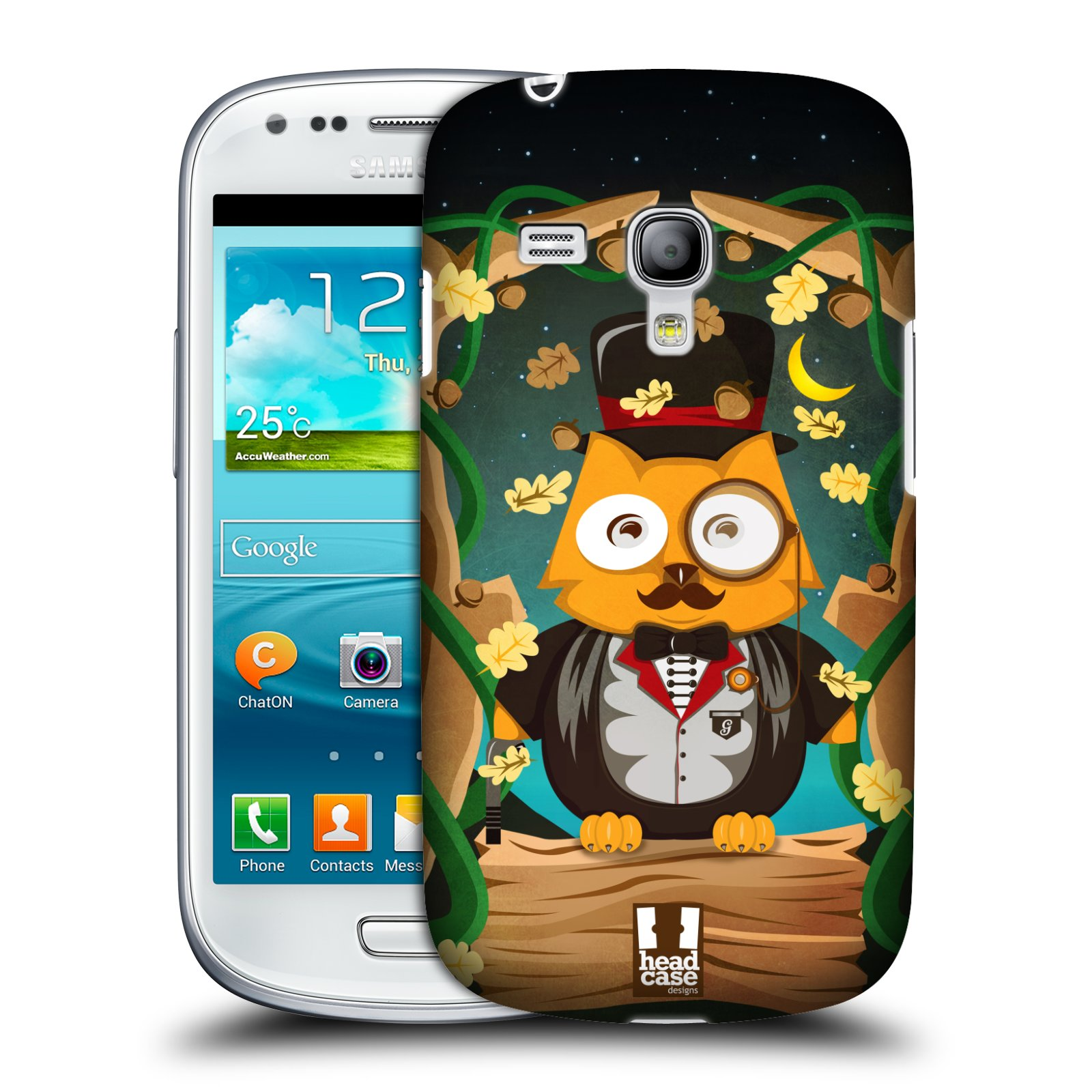 Plastové pouzdro na mobil Samsung Galaxy S3 Mini VE HEAD CASE SOVA GENTLEMAN (Kryt či obal na mobilní telefon Samsung Galaxy S3 Mini VE GT-i8200)